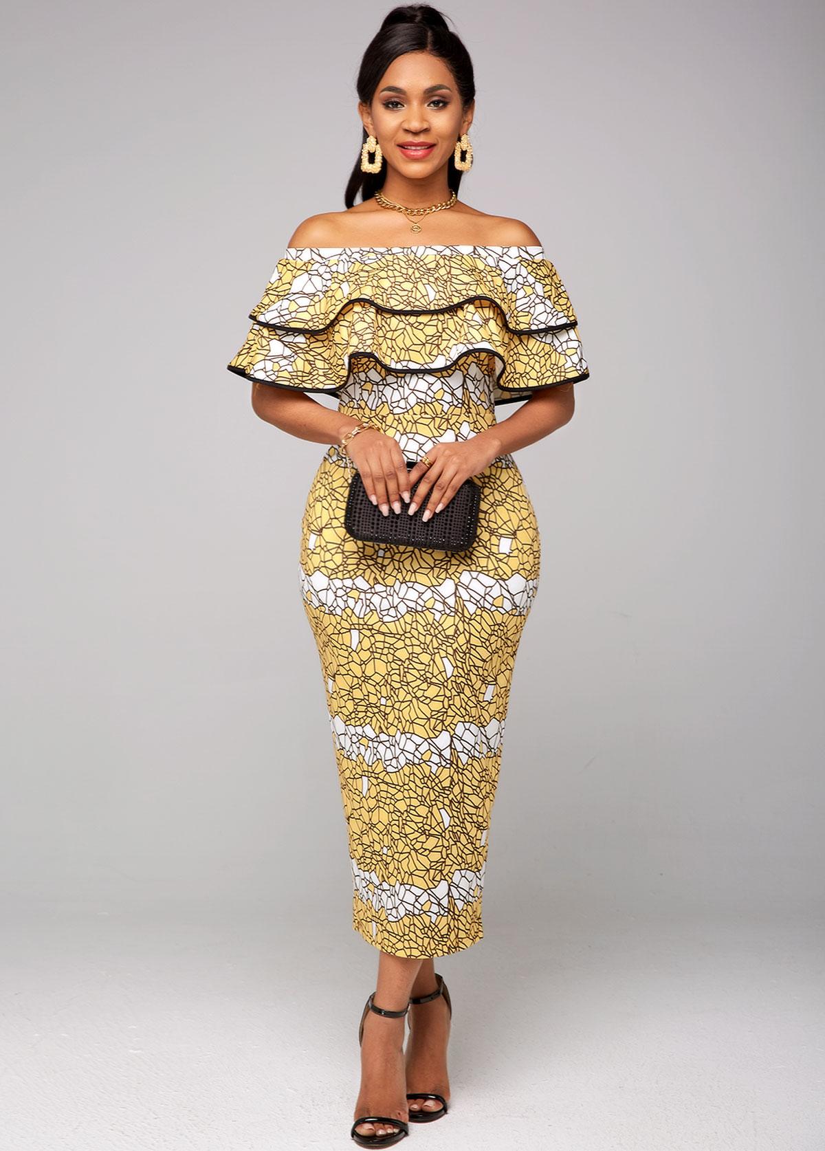 ROTITA Off Shoulder Printed Ruffle Overlay Dress
