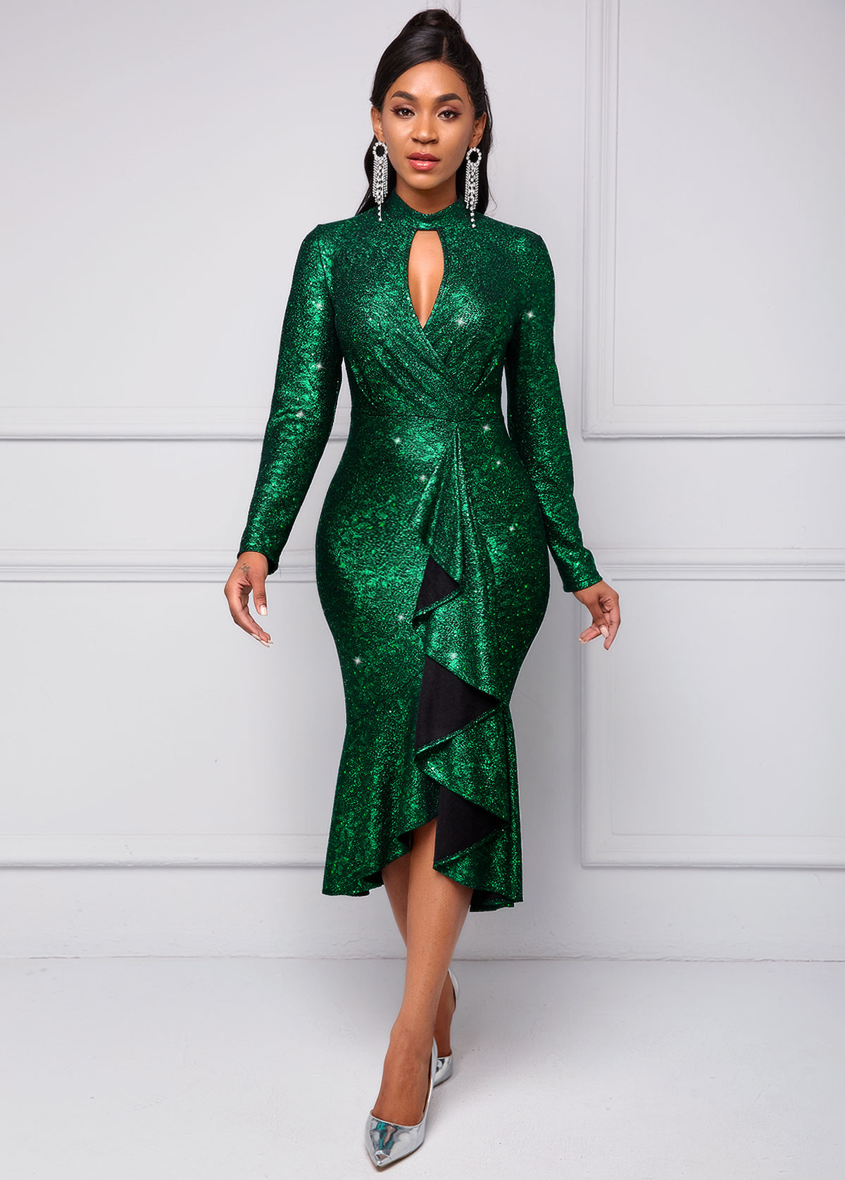 ROTITA Long Sleeve Sequin Keyhole Neckline Dress