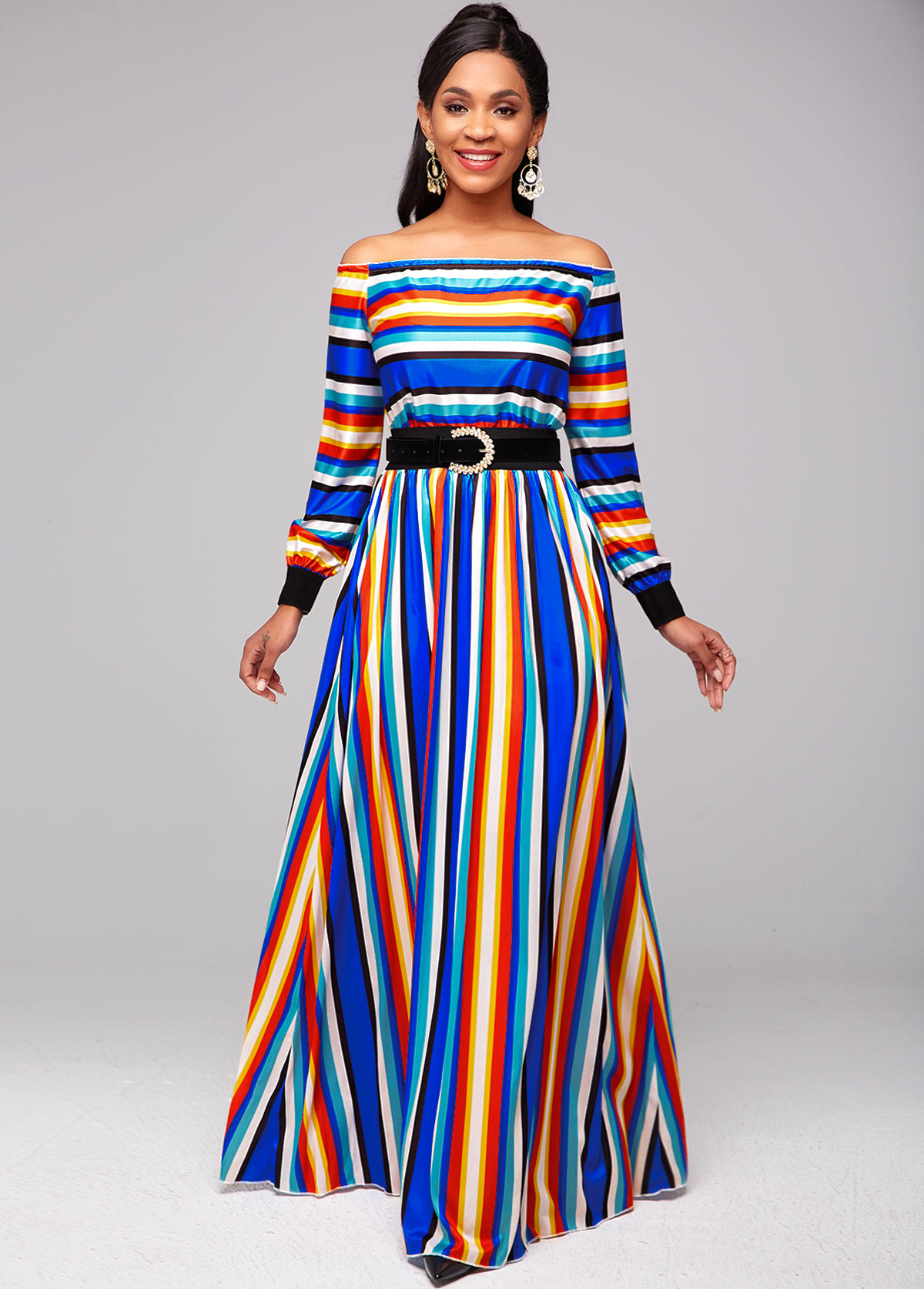 ROTITA Off Shoulder Striped Top and Rainbow Color Skirt