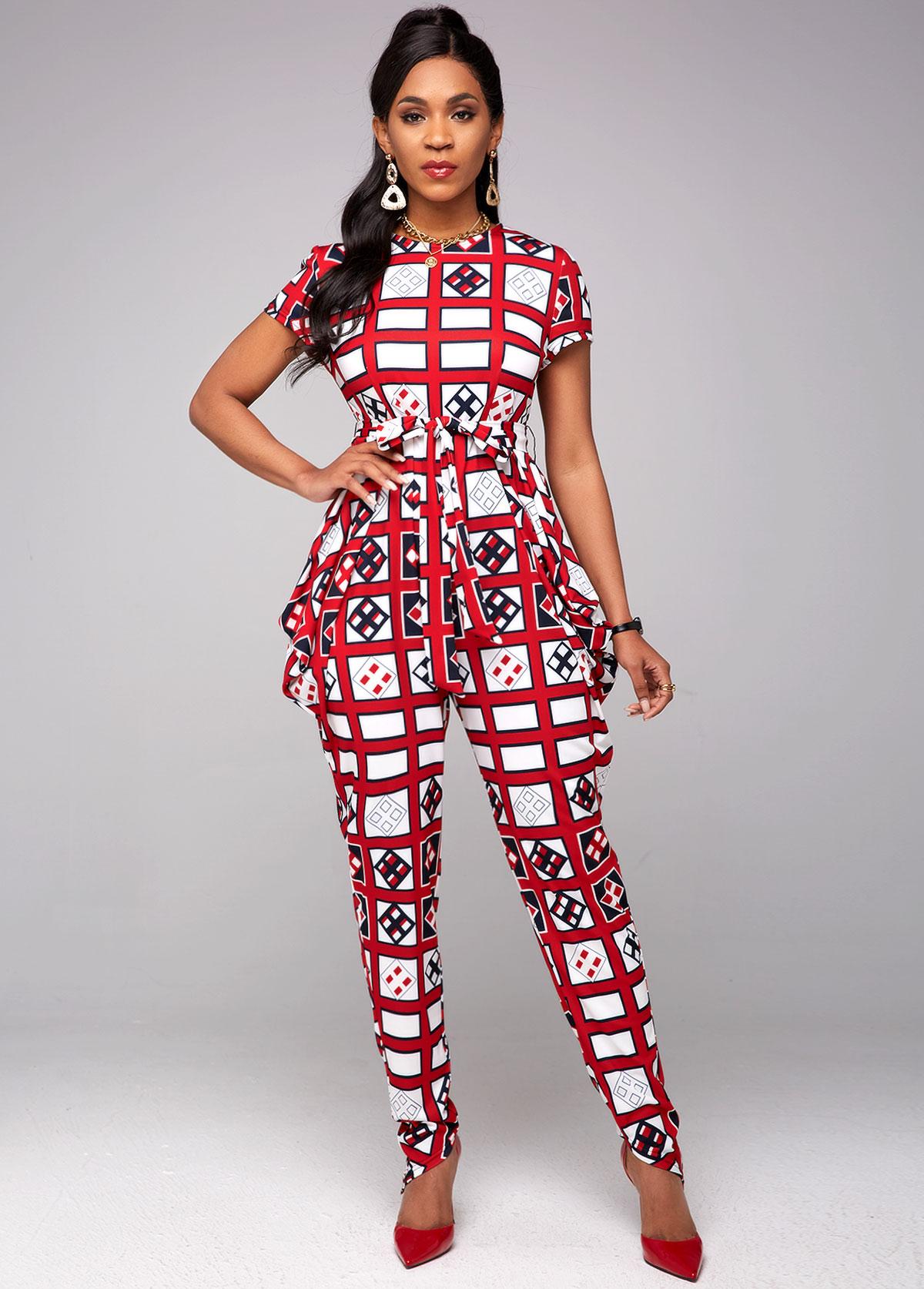 ROTITA Belted Short Sleeve Geometric Print Jumpsuit