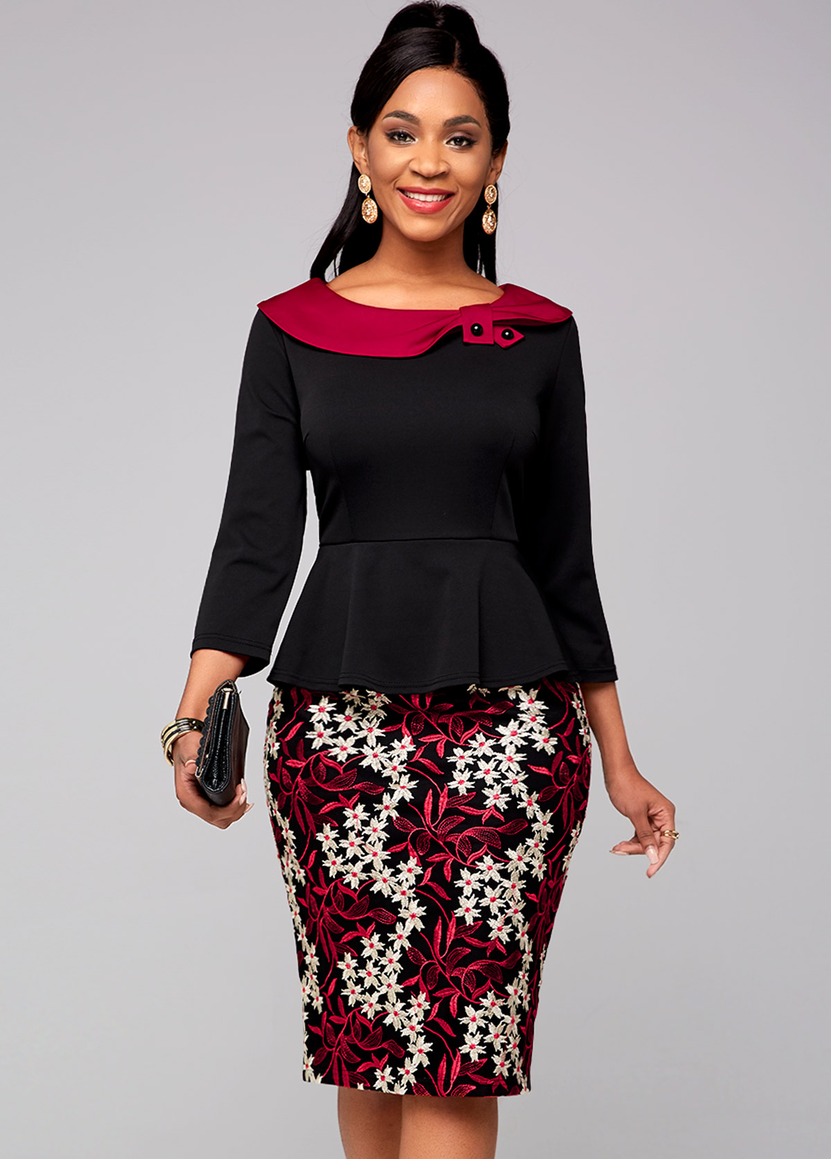 ROTITA Lace Stitching 3/4 Sleeve Contrast Dress