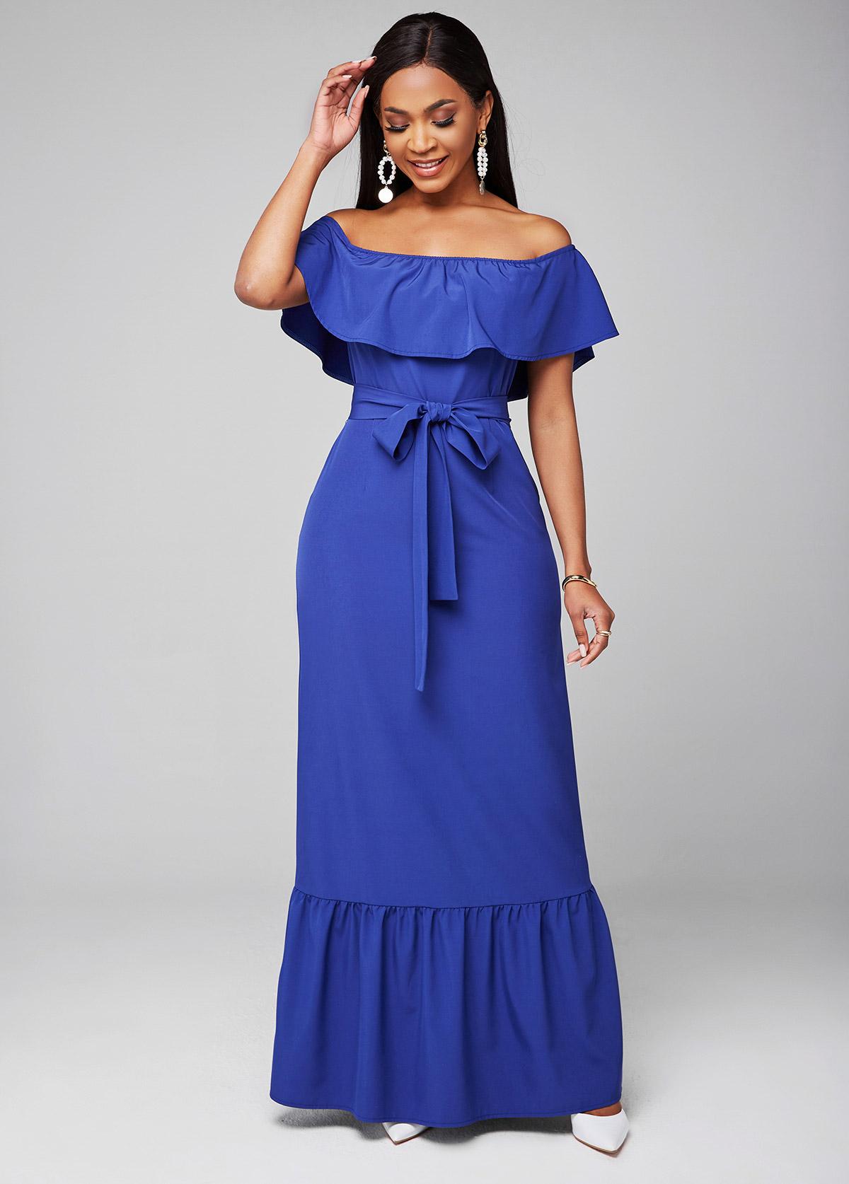 ROTITA Off Shoulder Ruffle Overlay Belted Dress
