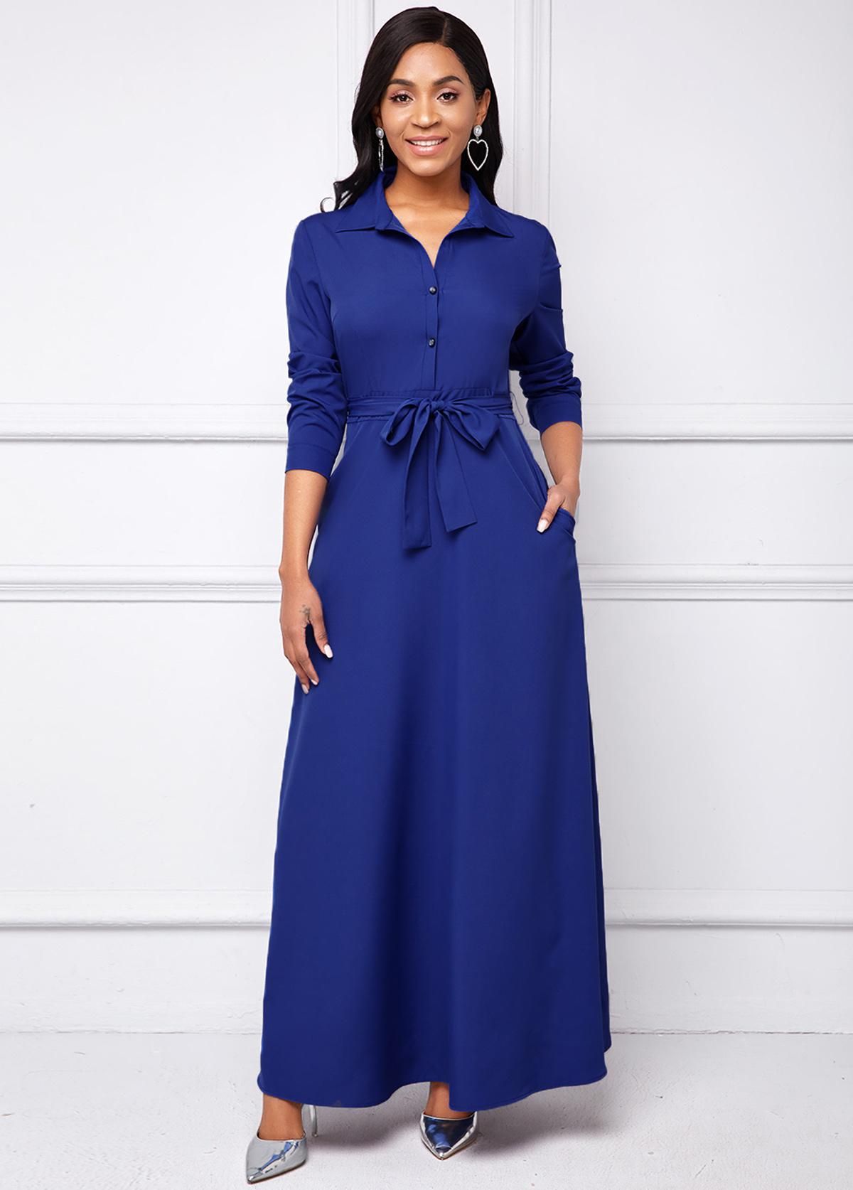 ROTITA Long Sleeve Belted Turndown Collar Shirt Dress