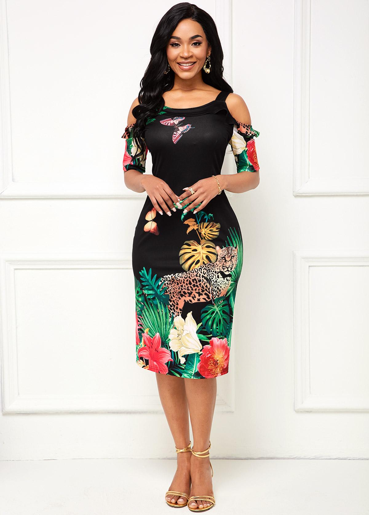 ROTITA Floral Print Cold Shoulder Half Sleeve Dress