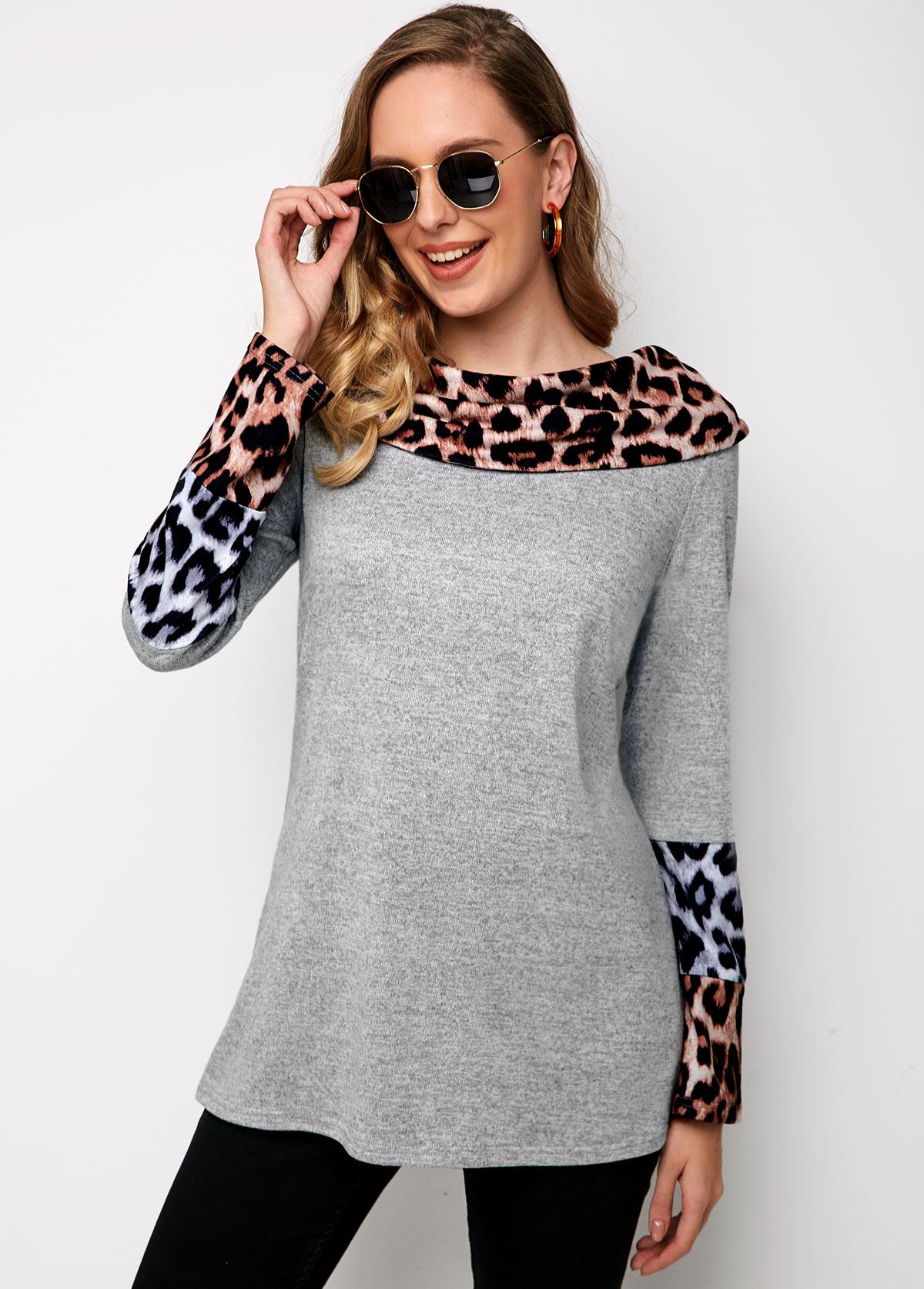 ROTITA Long Sleeve Cowl Neck Leopard Sweatshirt