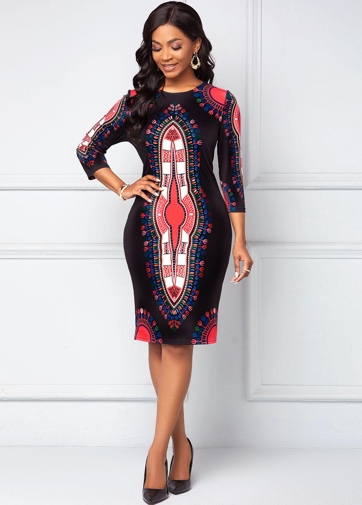 ROTITA Round Neck 3/4 Sleeve Dashiki Print Dress