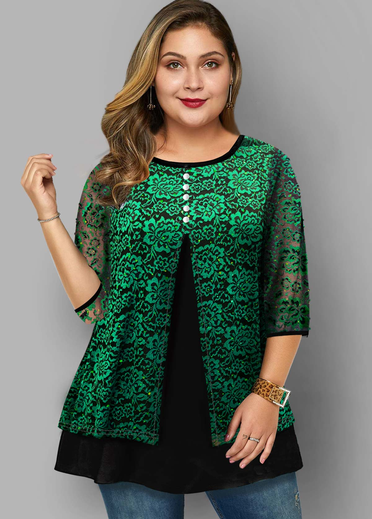ROTITA Plus Size Lace Stitching Faux Two Piece T Shirt
