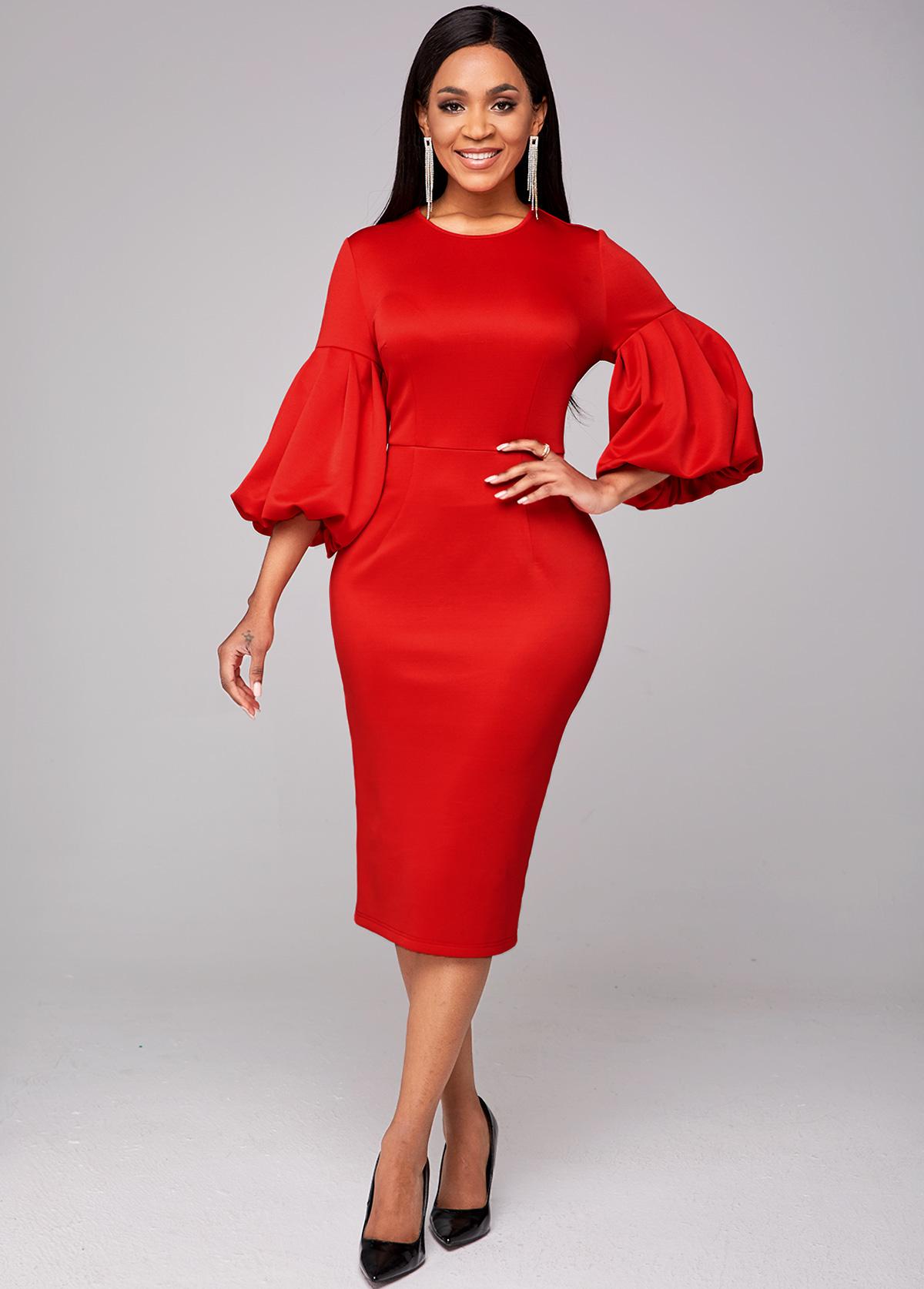 ROTITA Puff Sleeve Round Neck Red Bodycon Dress