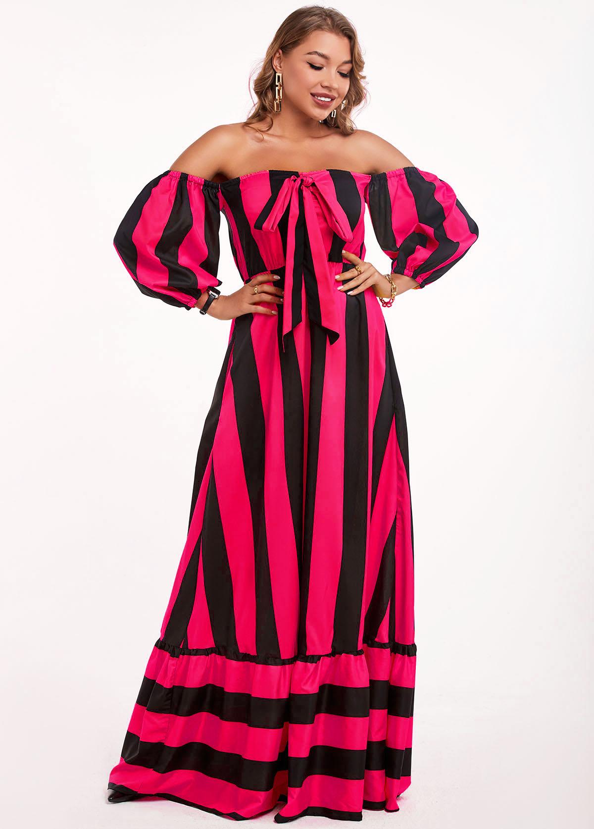 Striped Off Shoulder Bowknot Maxi Dress
