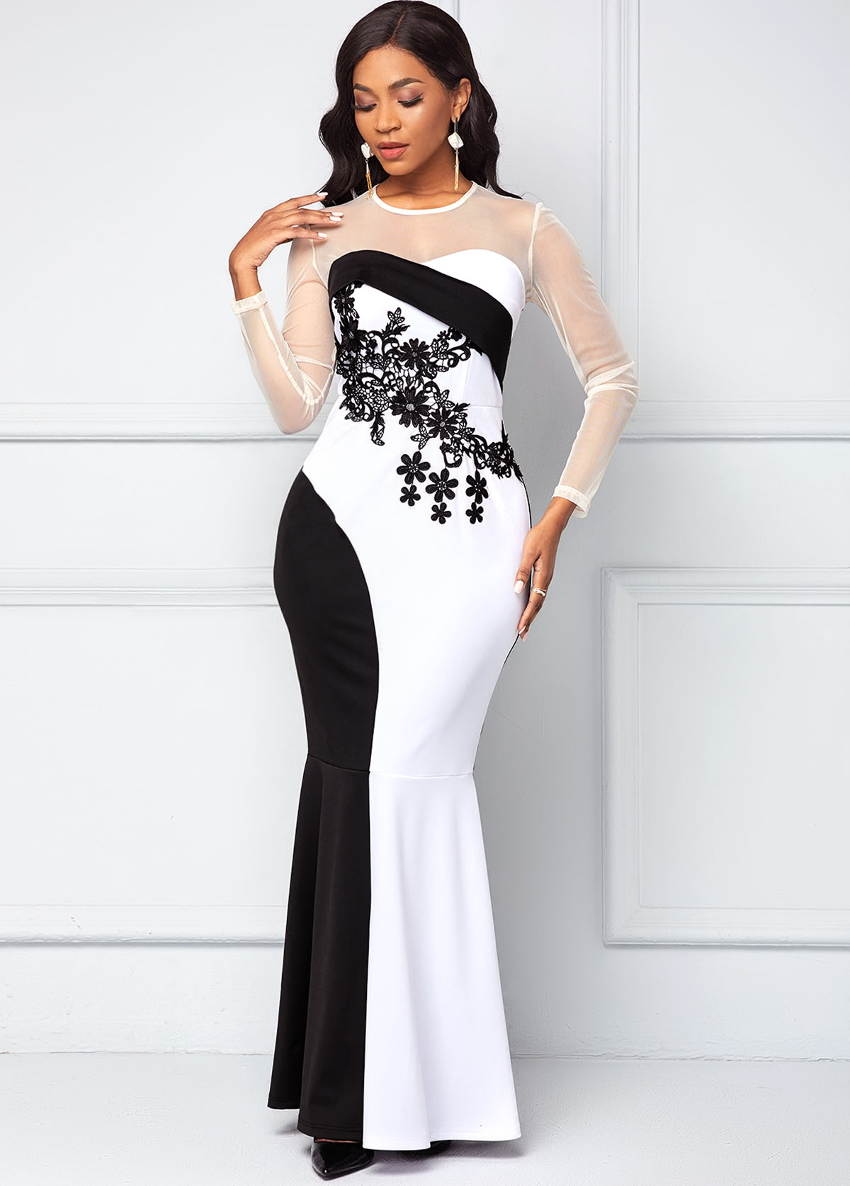 ROTITA Mesh Stitching Long Sleeve Contrast Mermaid Dress