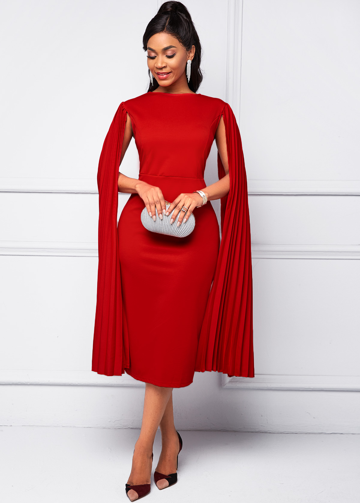 Cape Sleeve Round Neck Red Bodycon Dress