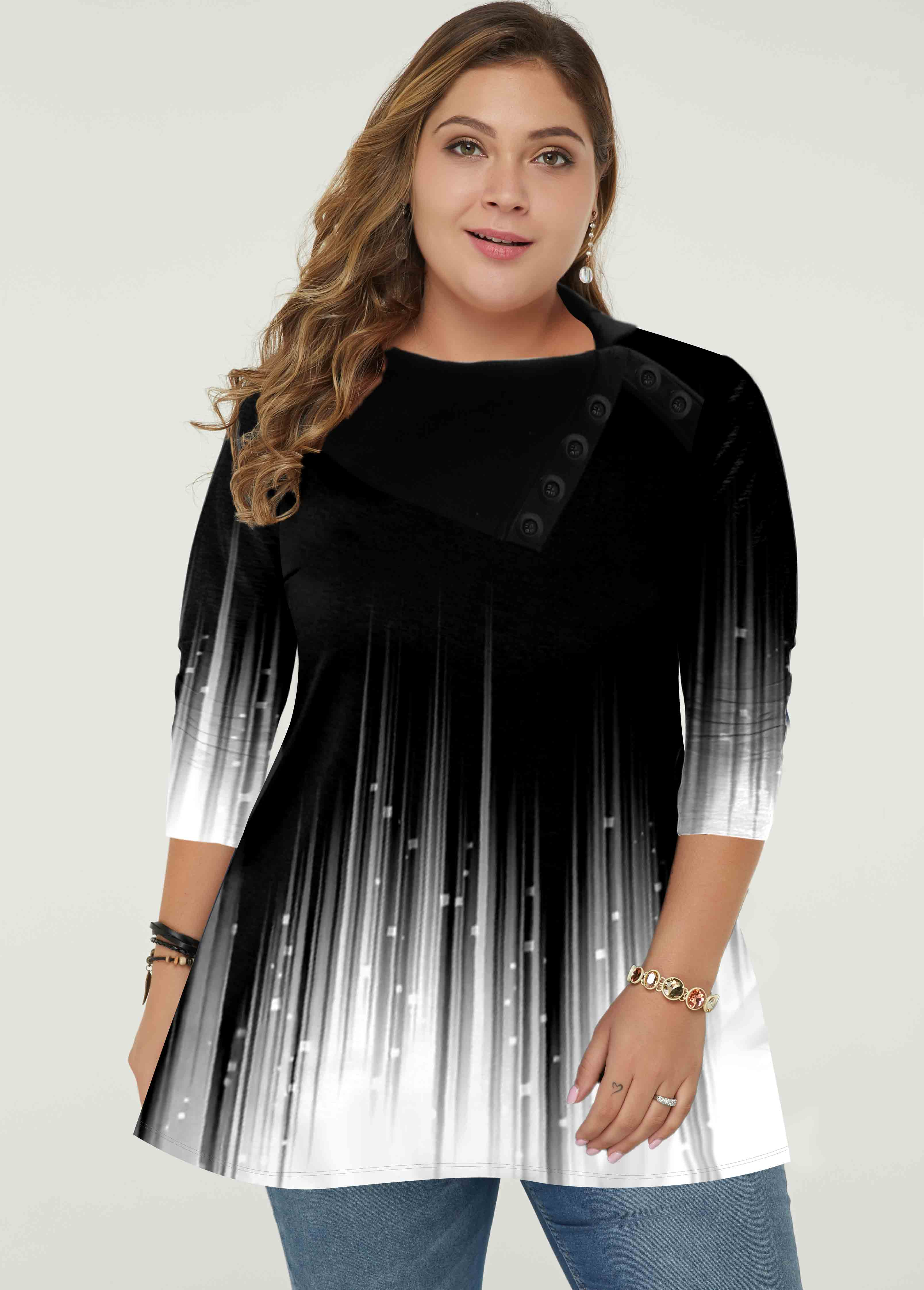 ROTITA Plus Size Button Detail Long Sleeve Gradient Tunic Top