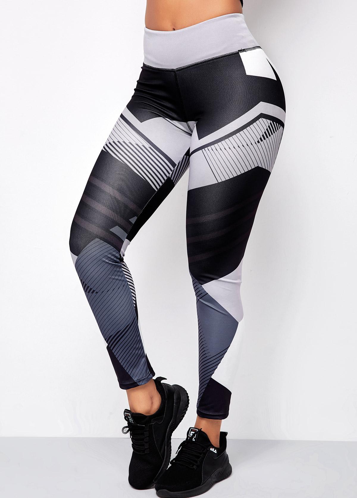 Grey Mid Waist Geometric Print Pants