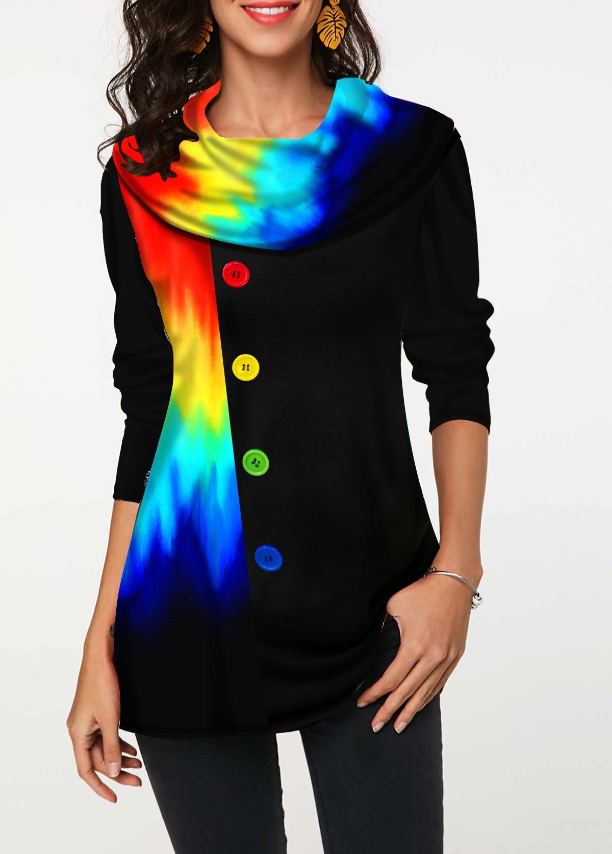 ROTITA Printed Decorative Button Colorful Tunic Top