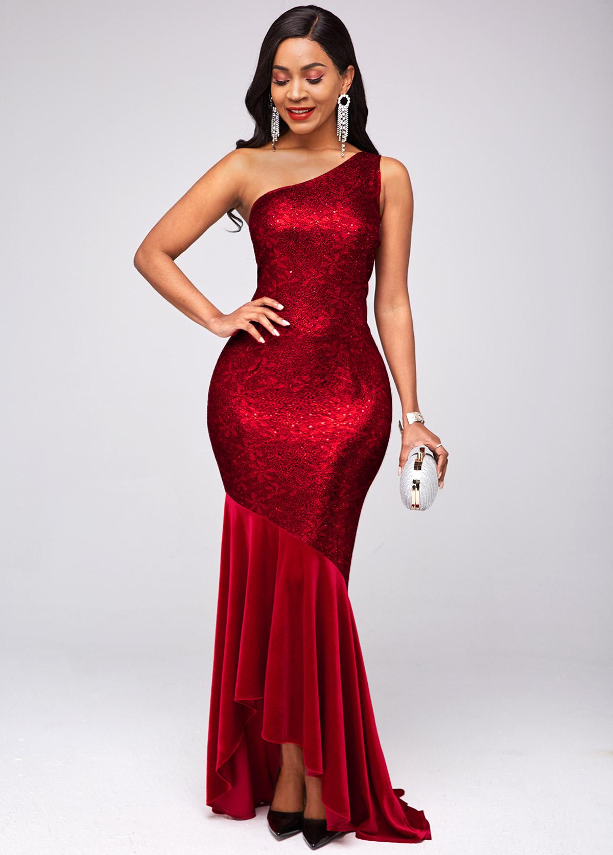 ROTITA Velvet One Shoulder Sleeveless Sparkle Dress