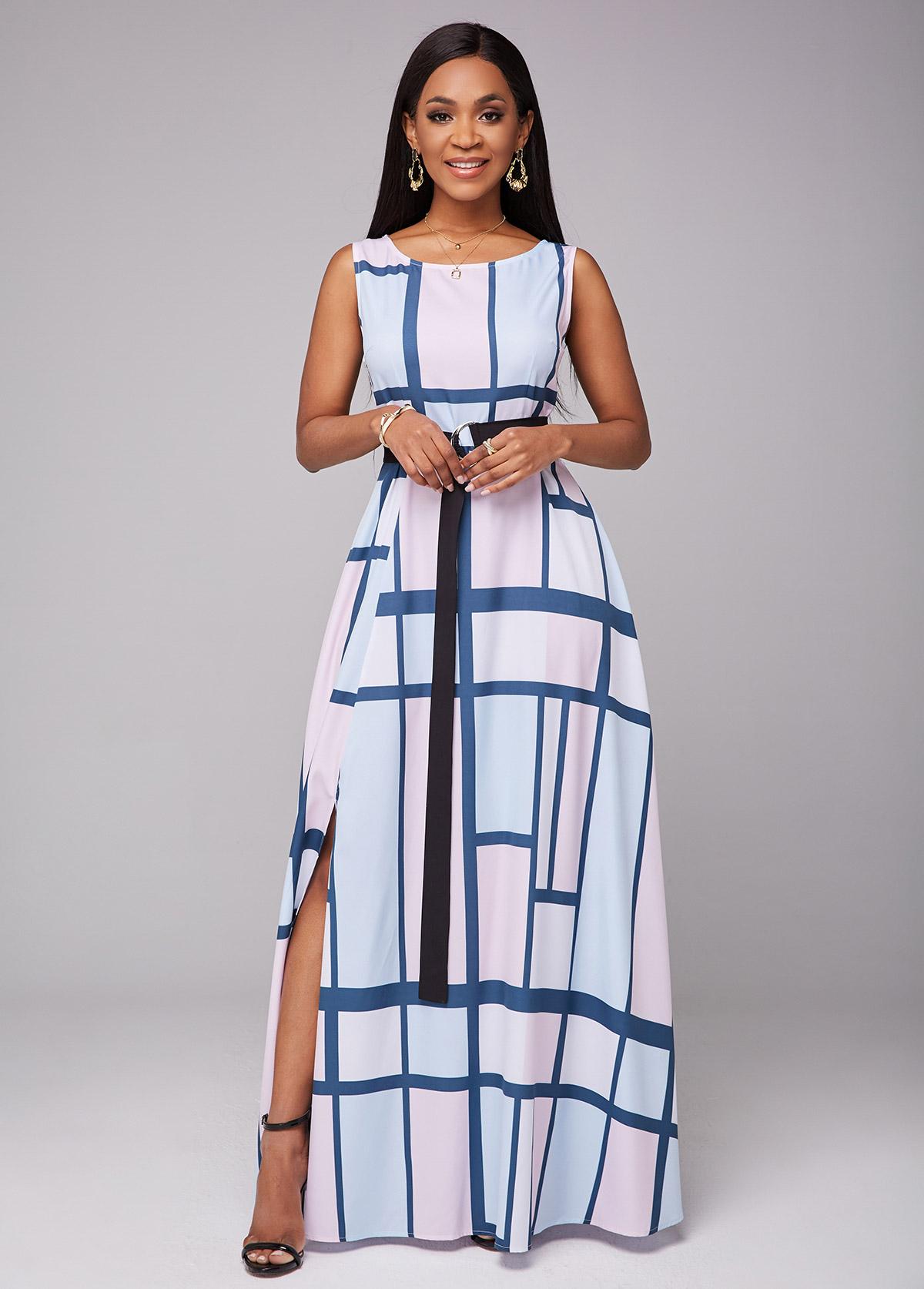 ROTITA Belted Geometric Print Side Slit Dress