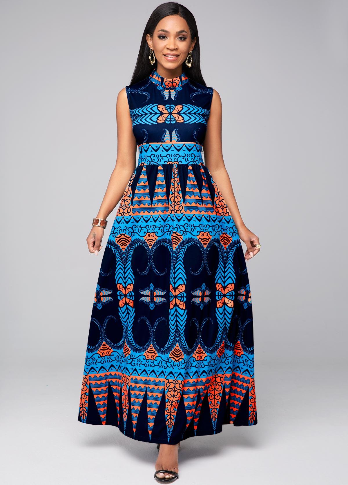 ROTITA Sleeveless Tribal Print Mock Neck Dress