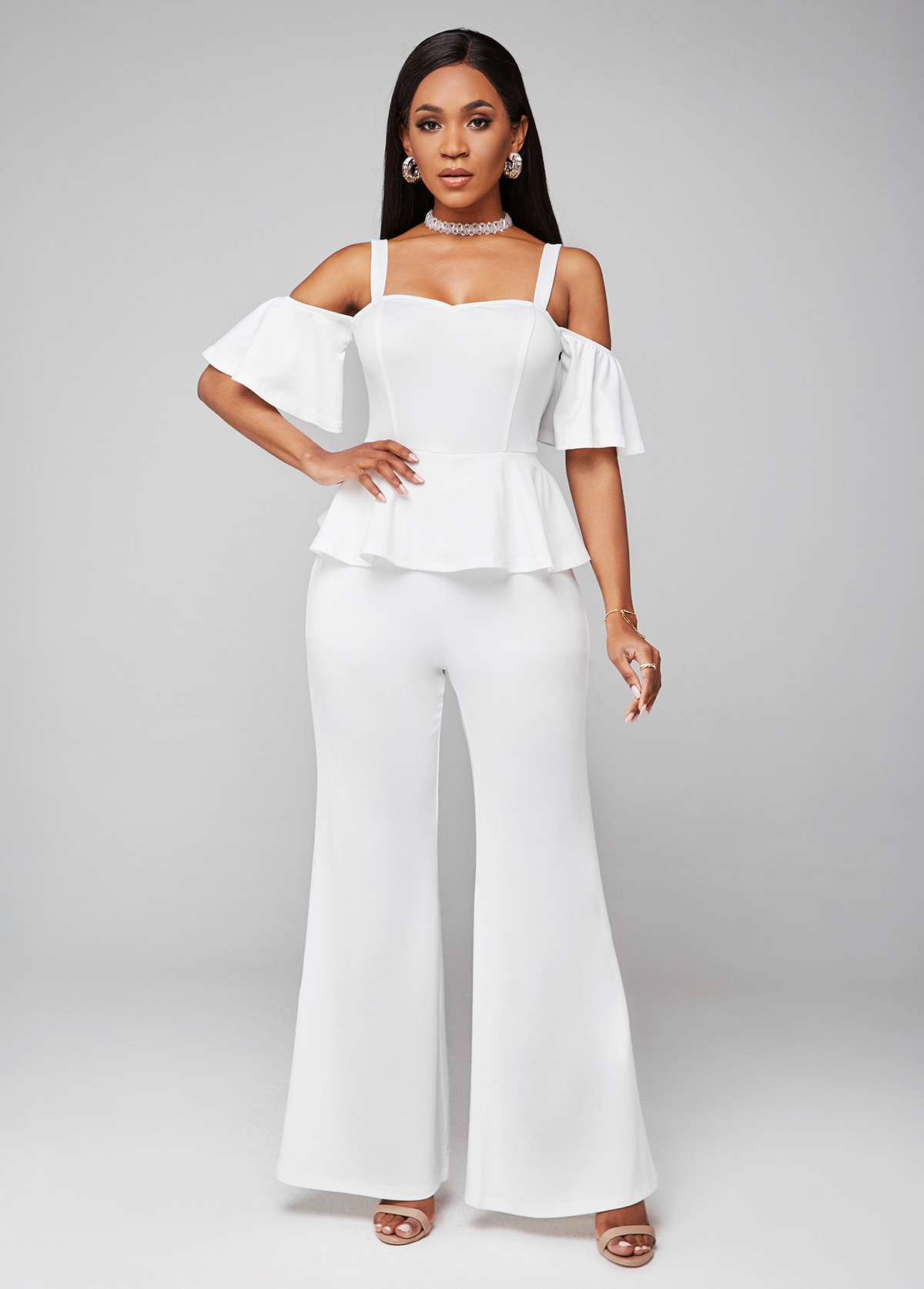 ROTITA Ruffle Hem Strappy Cold Shoulder Jumpsuit