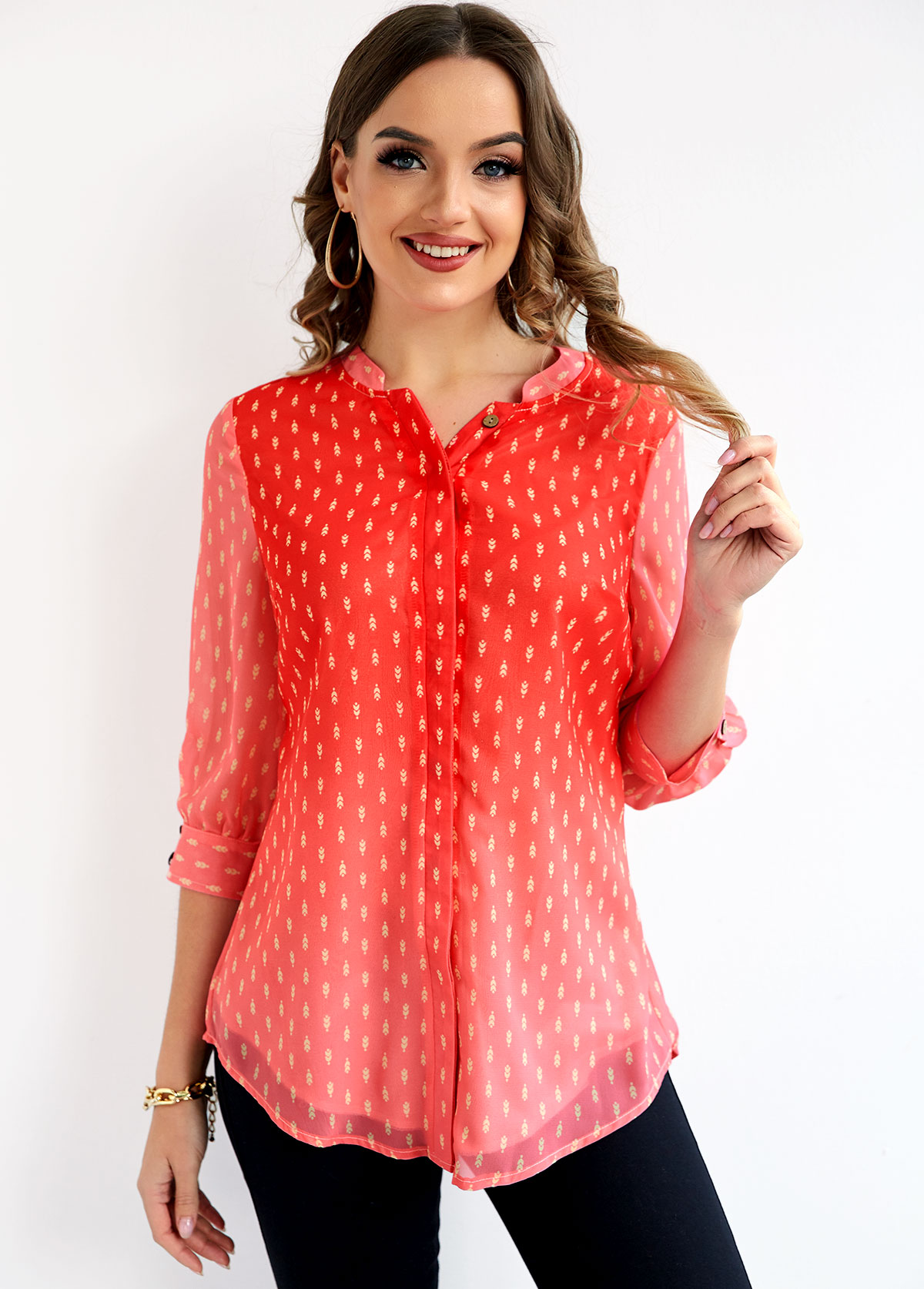 ROTITA Printed Red Ombre Button Up Blouse