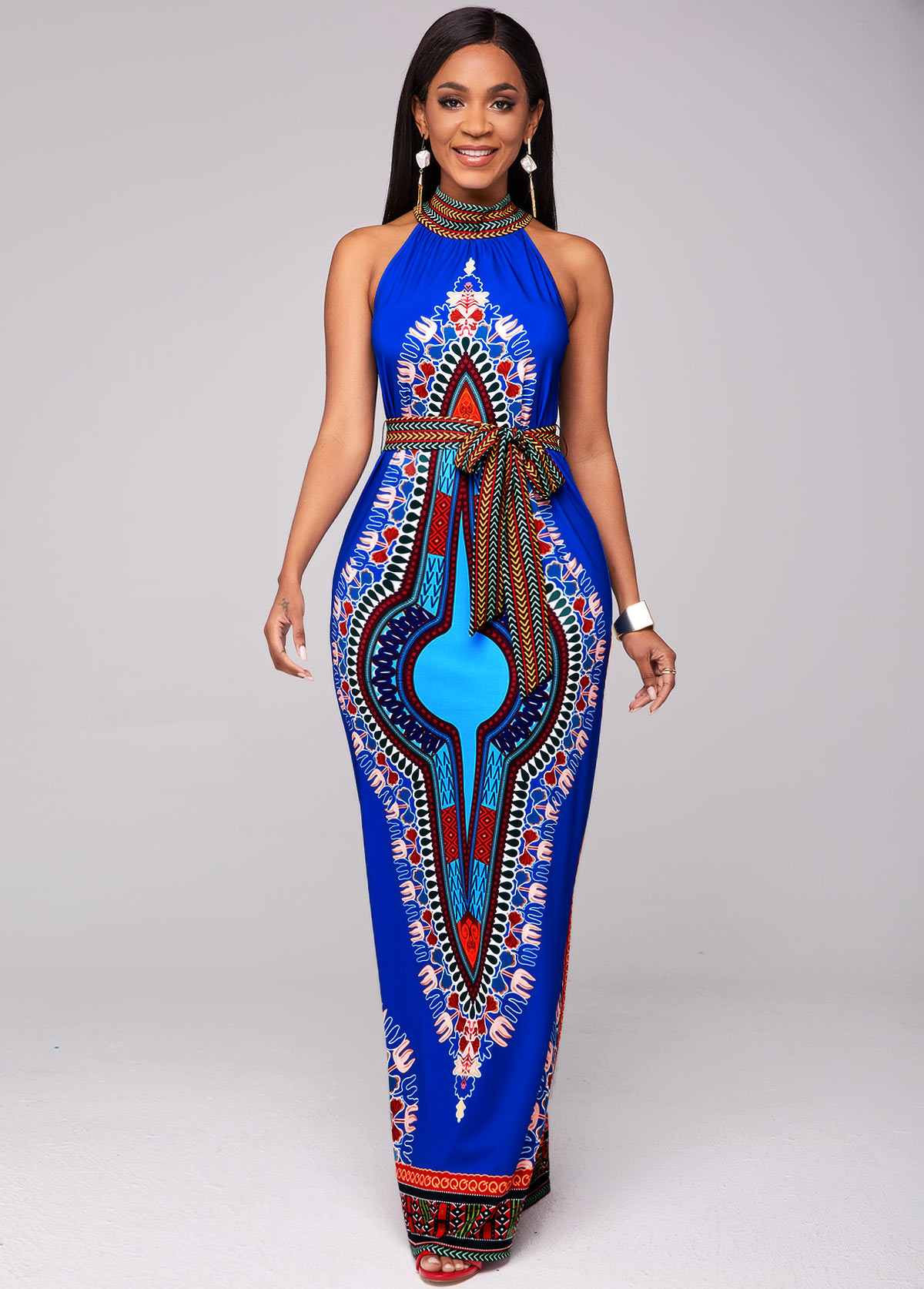 ROTITA Bib Neck Dashiki Print Belted Maxi Dress