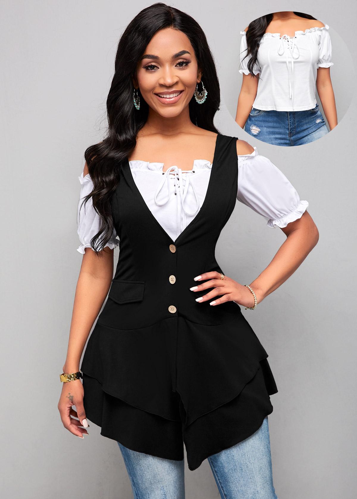 ROTITA White Lace Up Blouse and Black Asymmetric Hem Waistcoat