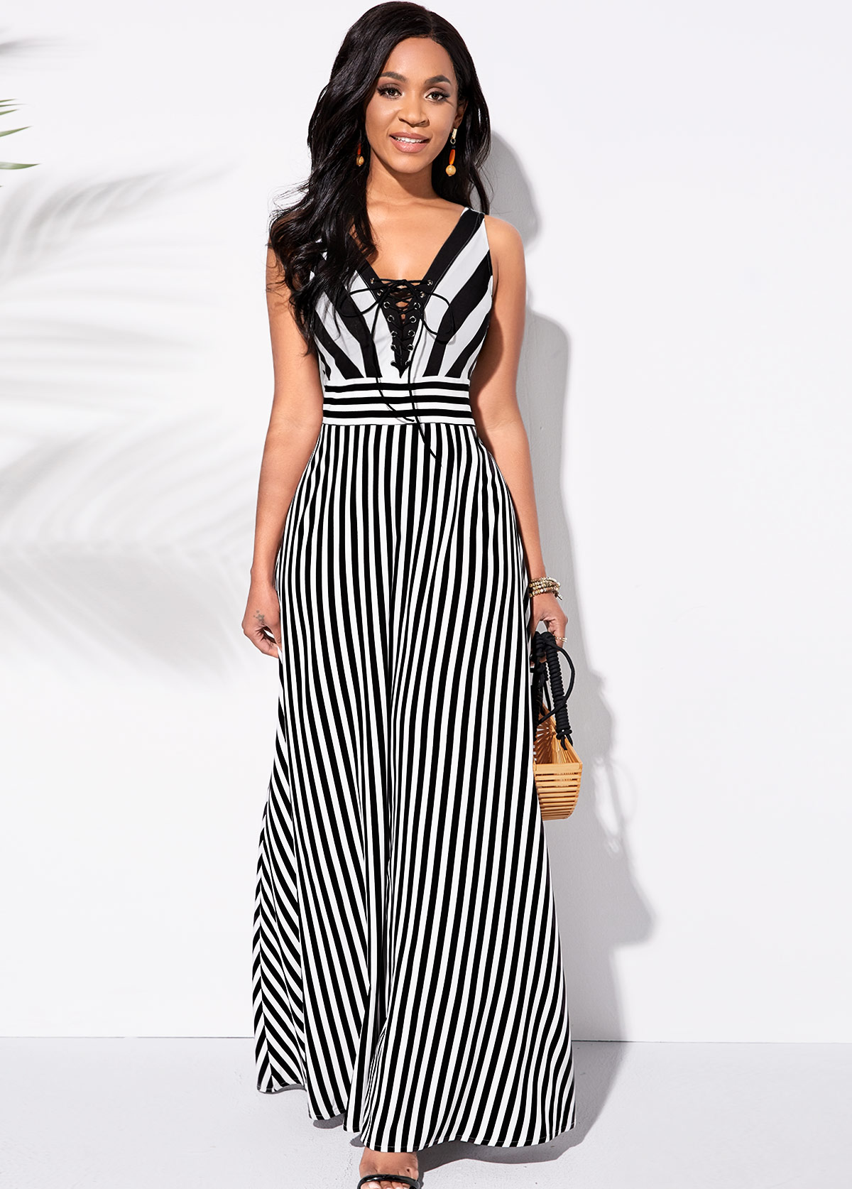 ROTITA Lace Up Sleeveless Striped Maxi Dress