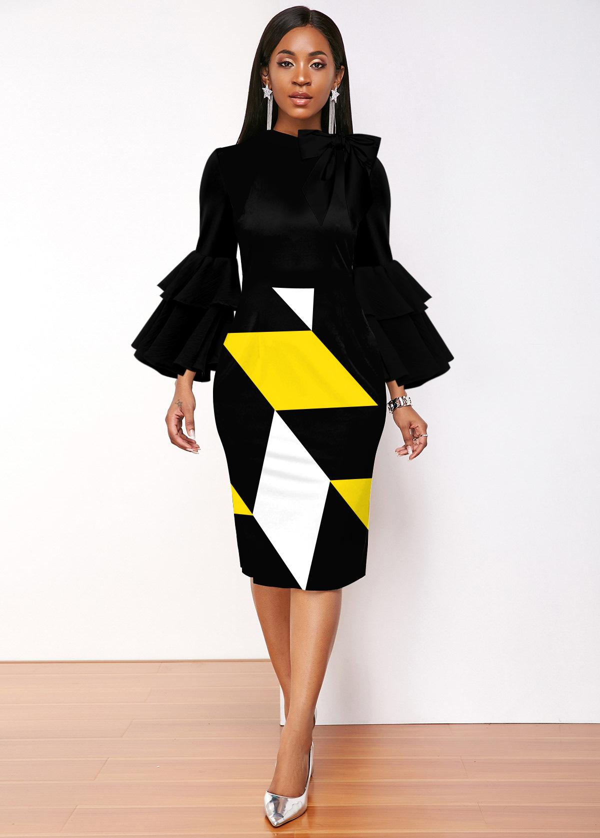 ROTITA Geometric Print Layered Bell Sleeve Dress