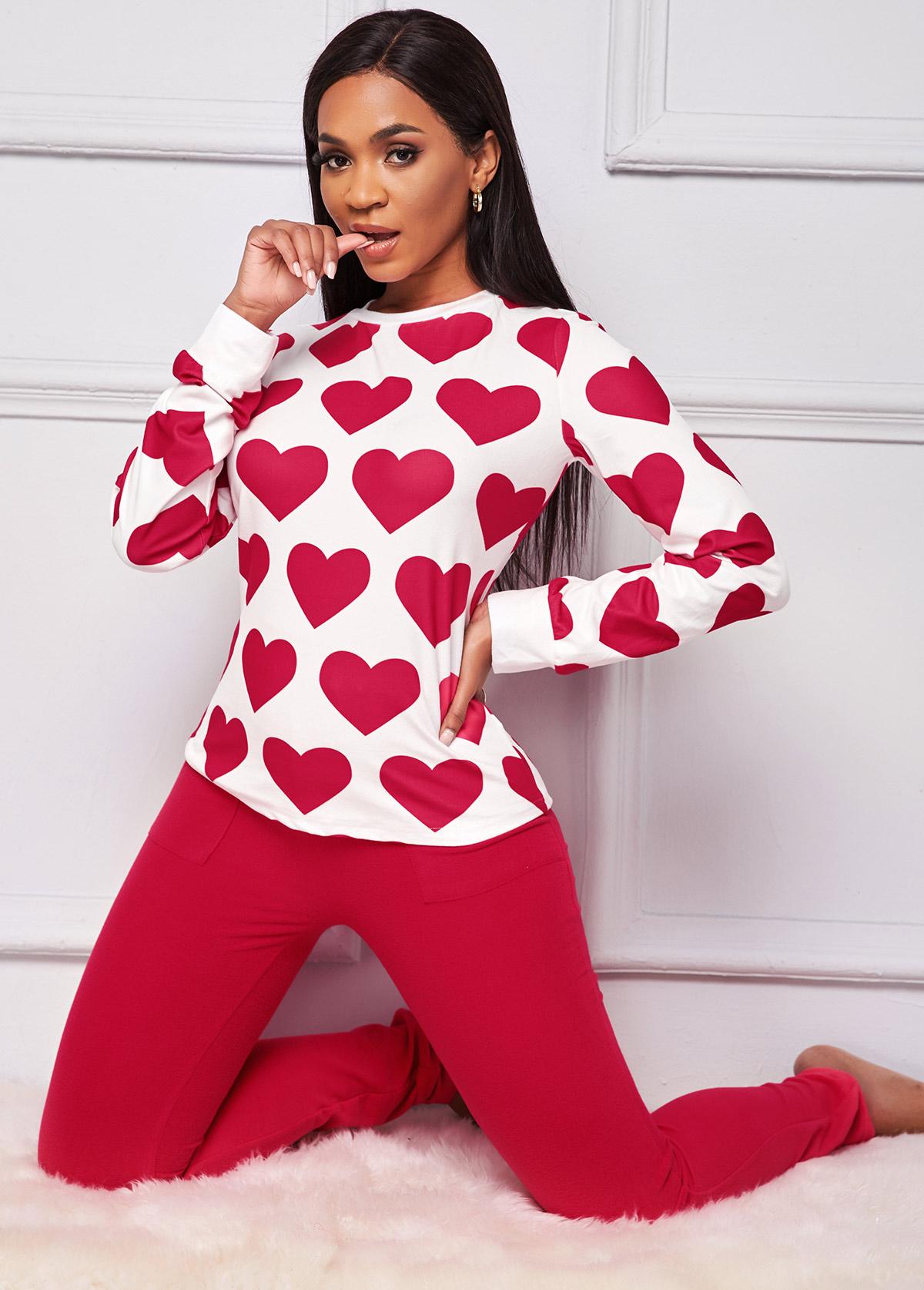 Heart Print Long Sleeve Loungewear Set