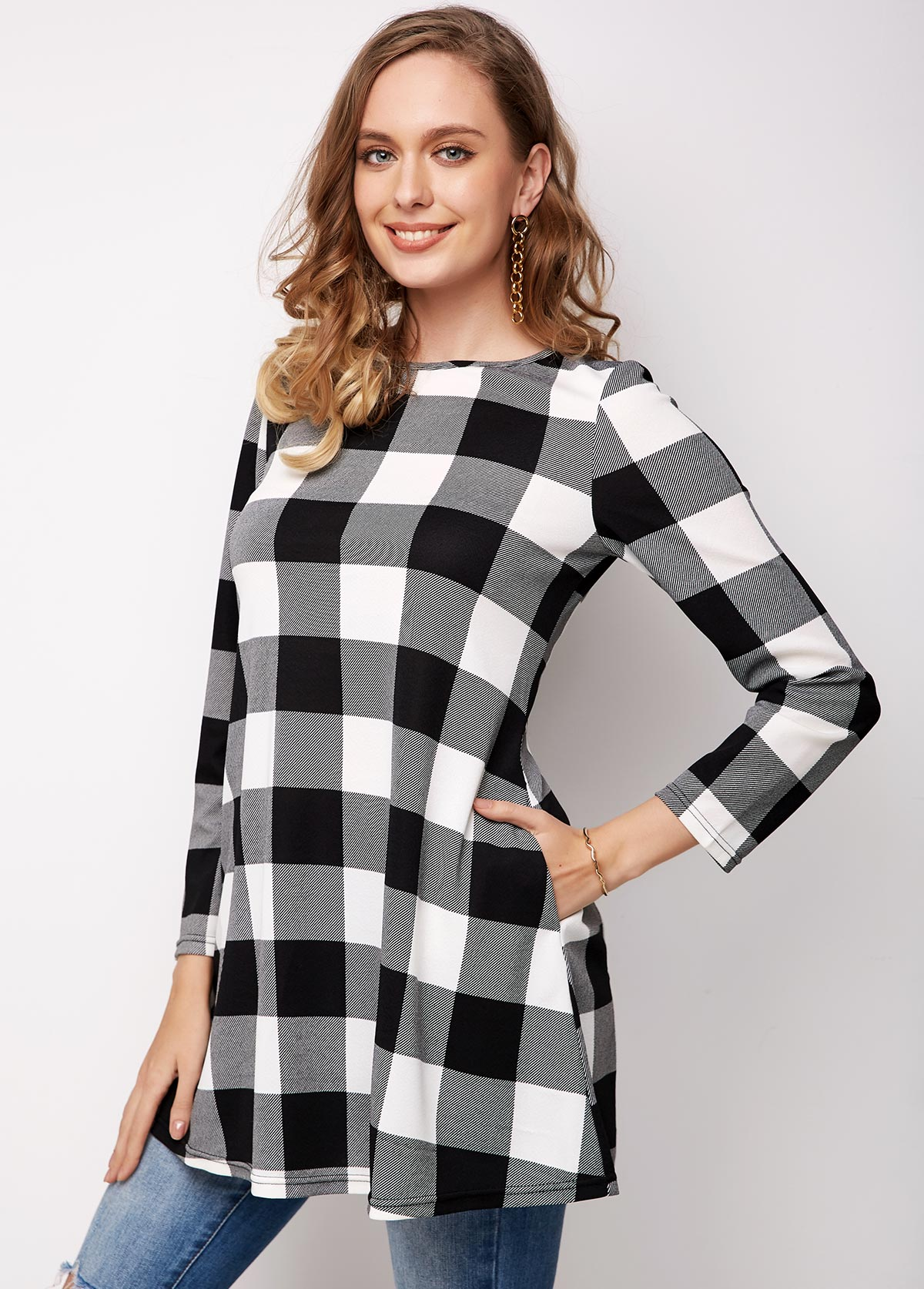 ROTITA Long Sleeve Plaid Round Neck Pocket T Shirt