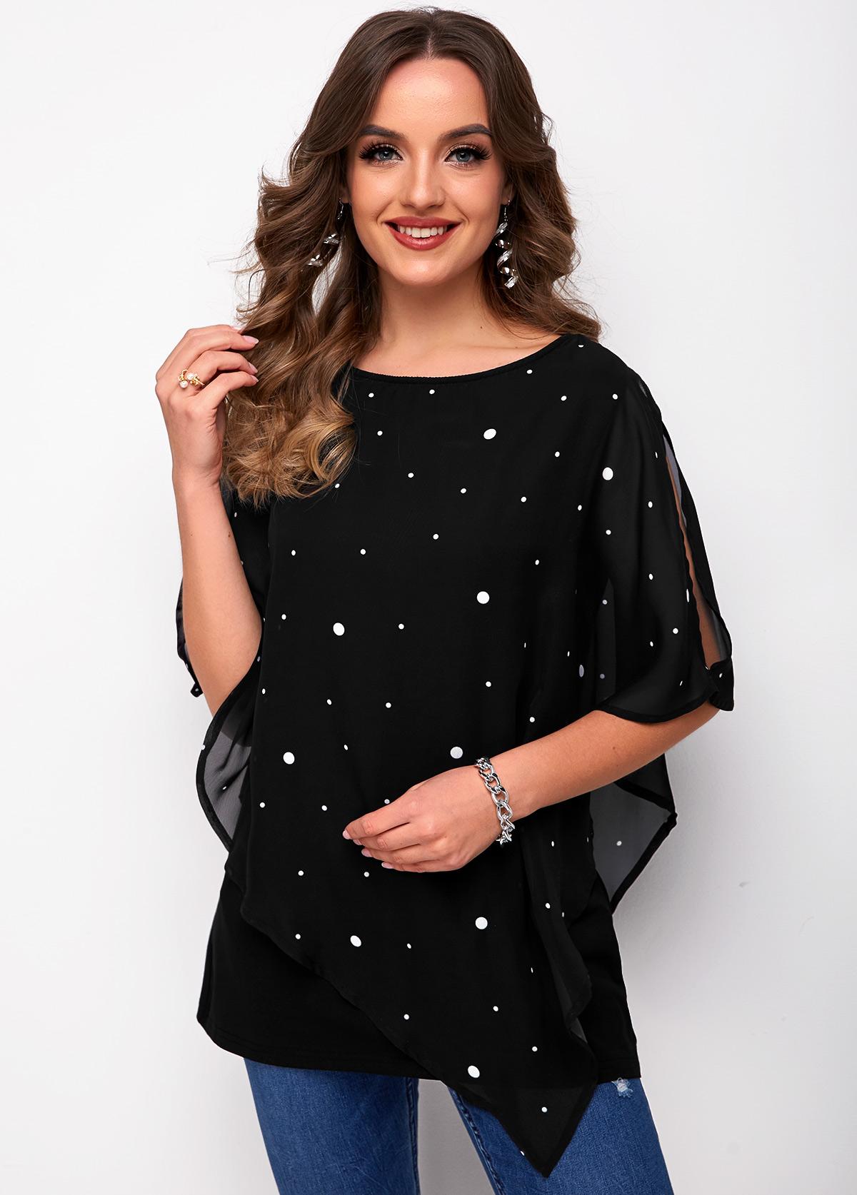 ROTITA Mesh Stitching Slit Sleeve Polka Dot T Shirt
