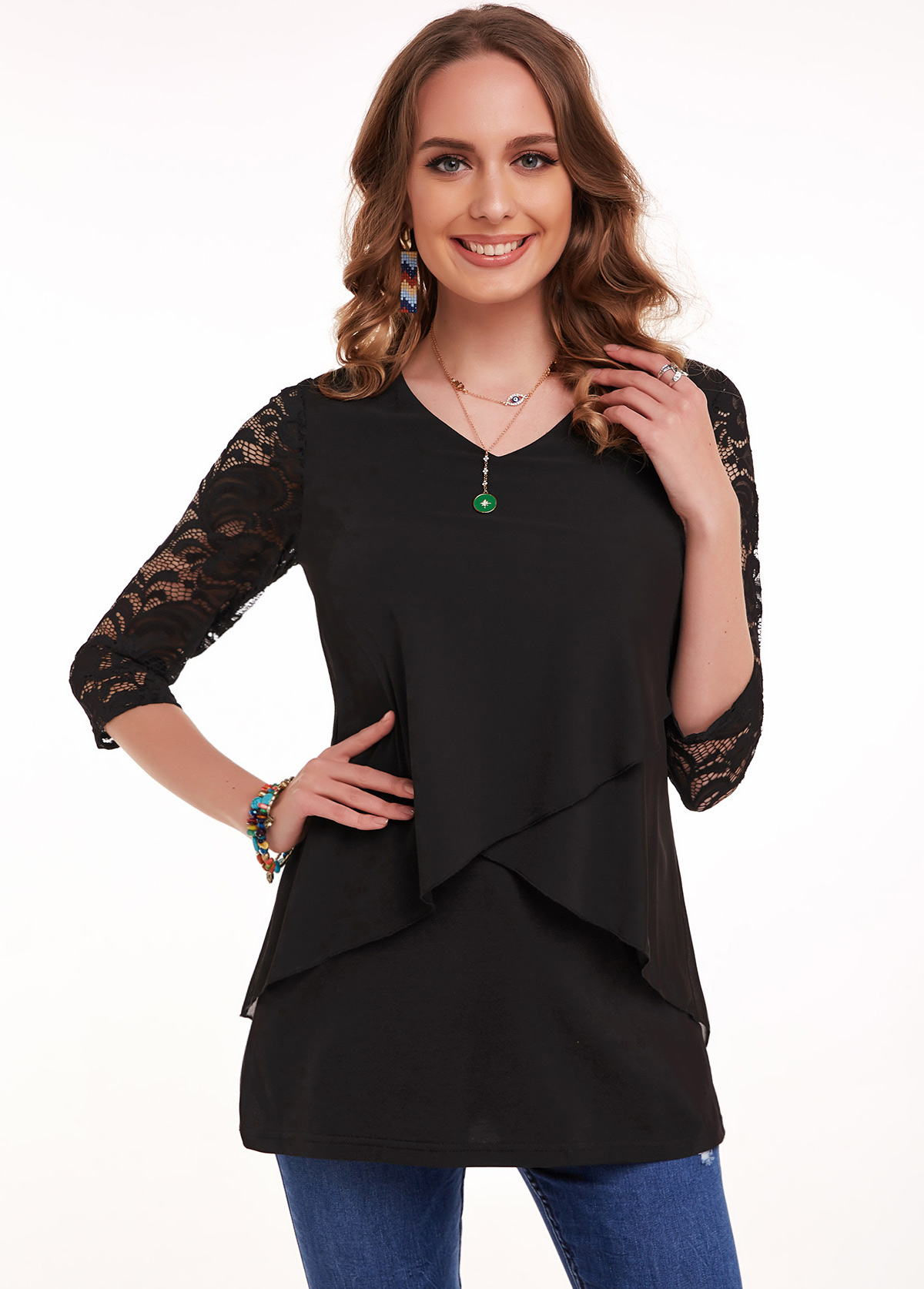 ROTITA 3/4 Sleeve Lace Stitching V Neck T Shirt