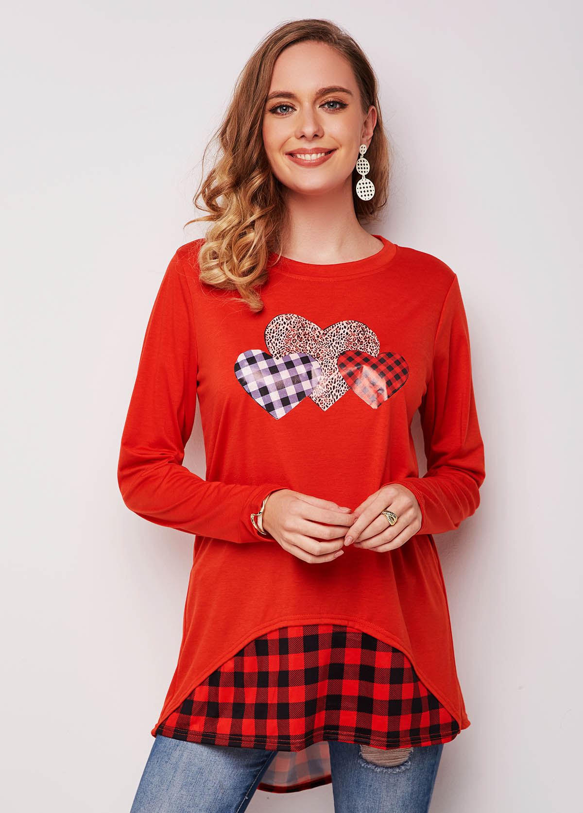 Long Sleeve Leopard Plaid Heart Print T Shirt