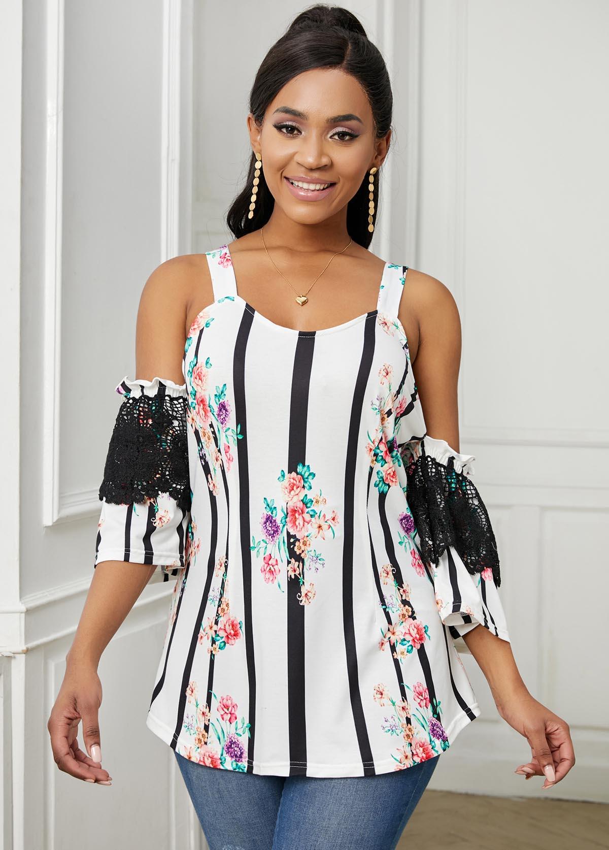 ROTITA Cold Shoulder Lace Stitching Floral Print T Shirt