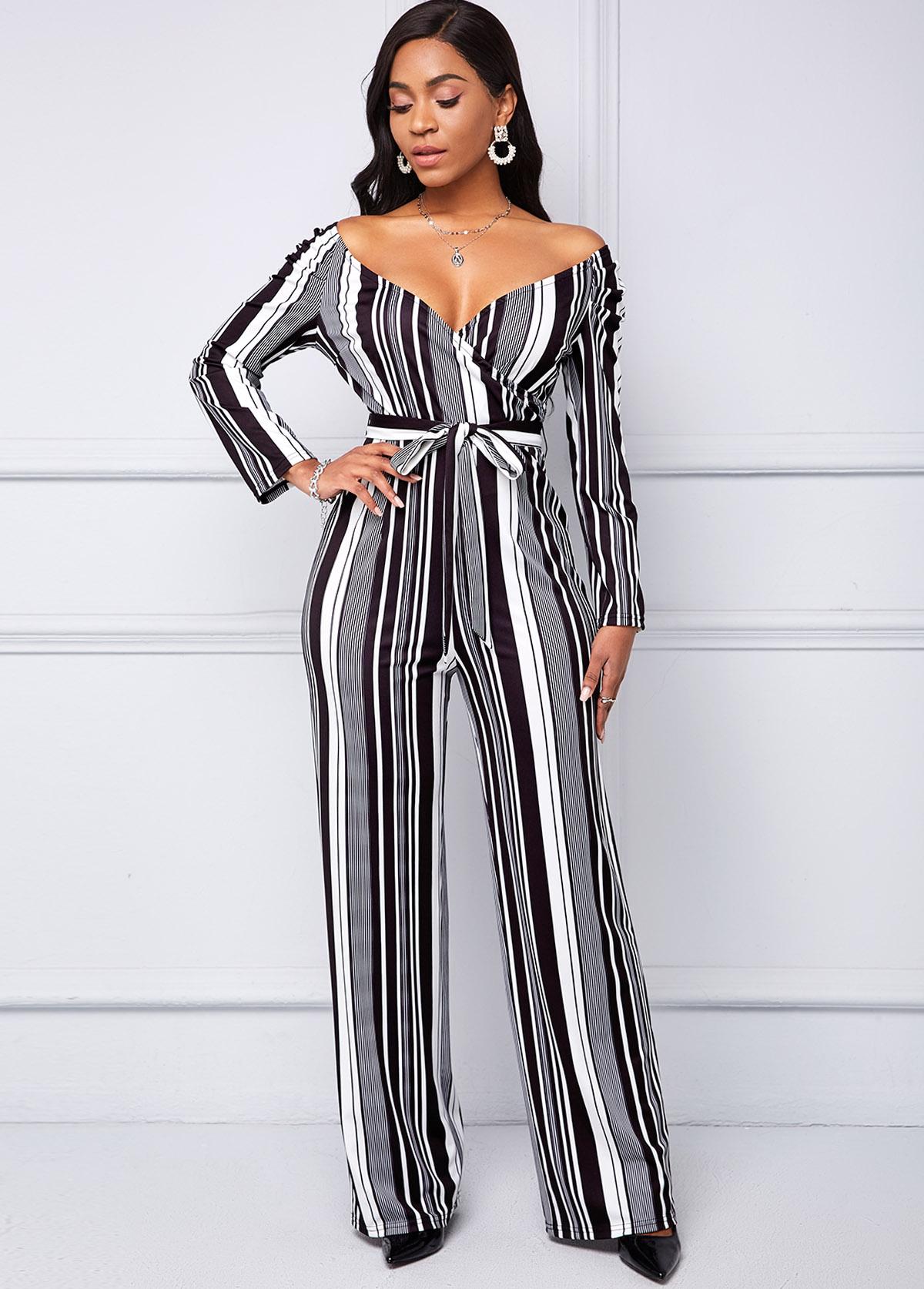 ROTITA Belted Stripe Print Long Sleeve Jumpsuit