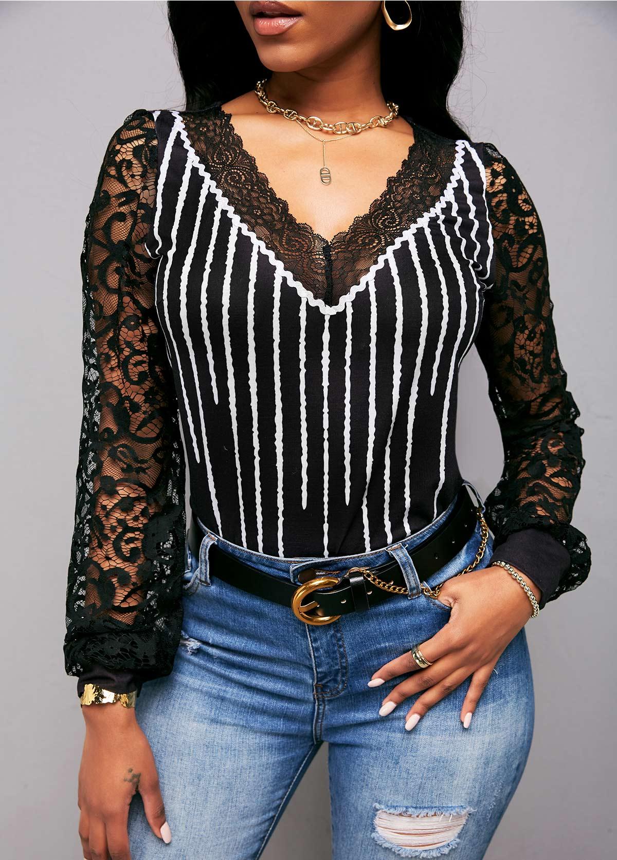 ROTITA V Neck Lace Panel Striped Long Sleeve T Shirt