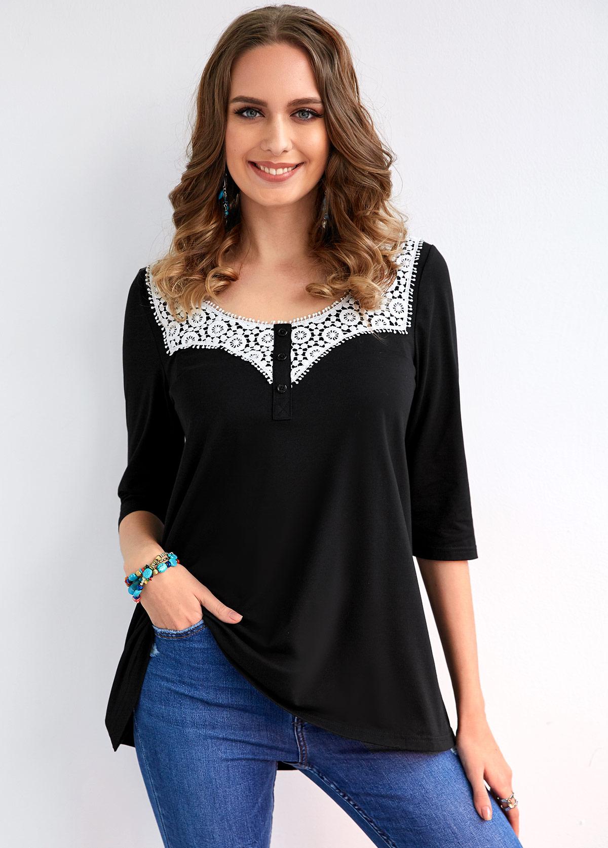 ROTITA 3/4 Sleeve Lace Stitching Decorative Button T Shirt