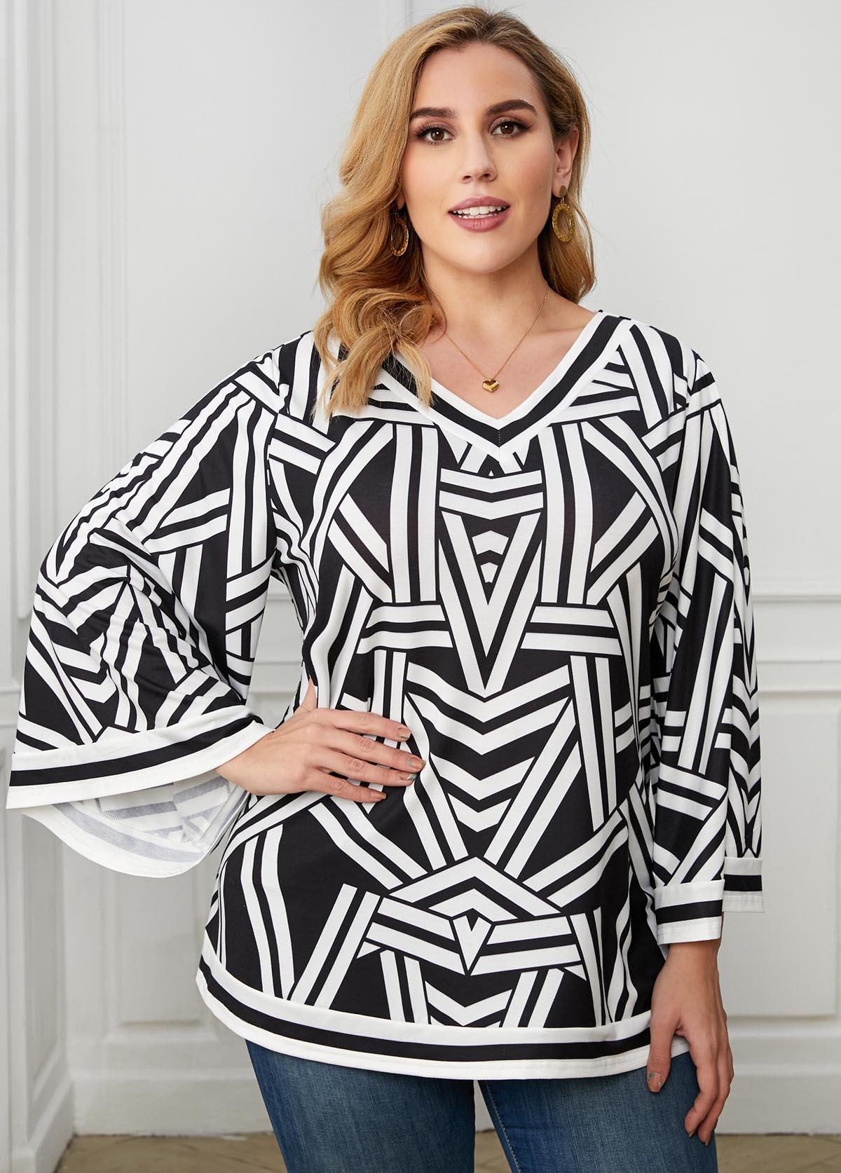 ROTITA V Neck Plus Size Geometric Print T Shirt