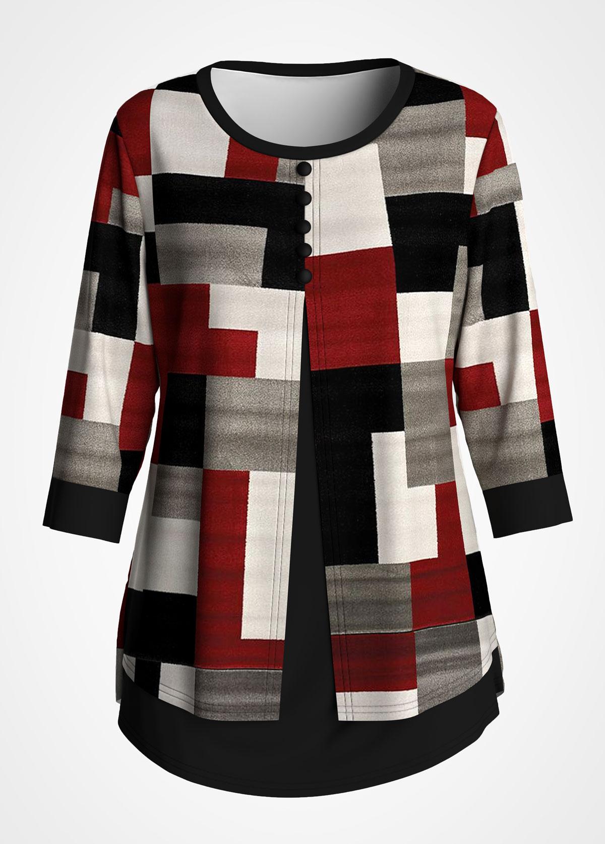ROTITA Plus Size Faux Two Piece Geometric Print T Shirt