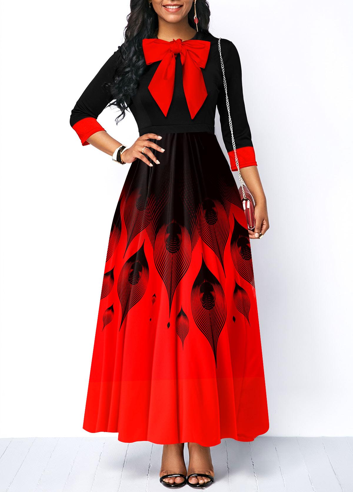 ROTITA Ombre Printed Bow Collar Maxi Dress