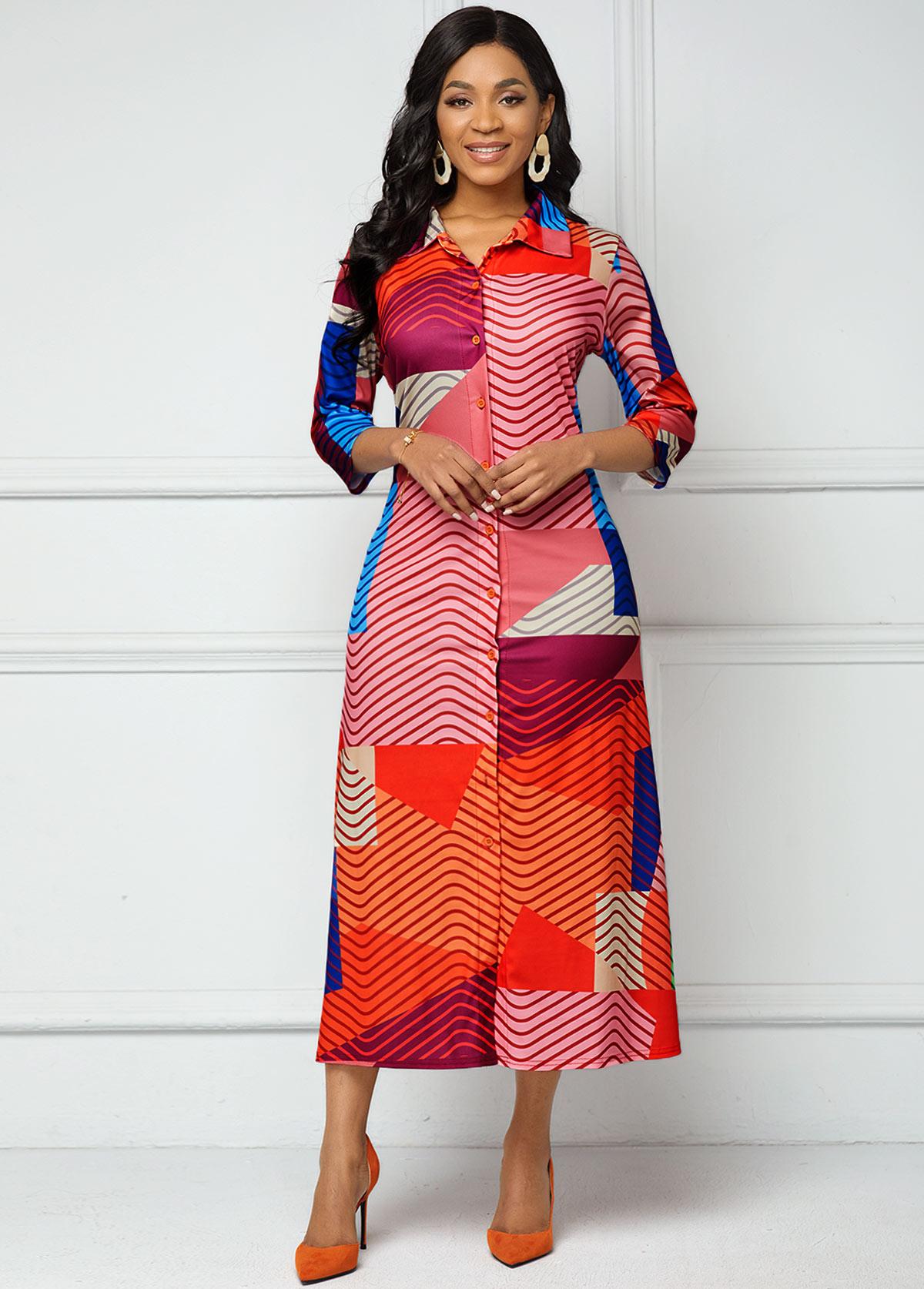 Button Up Turndown Collar Geometric Print Dress