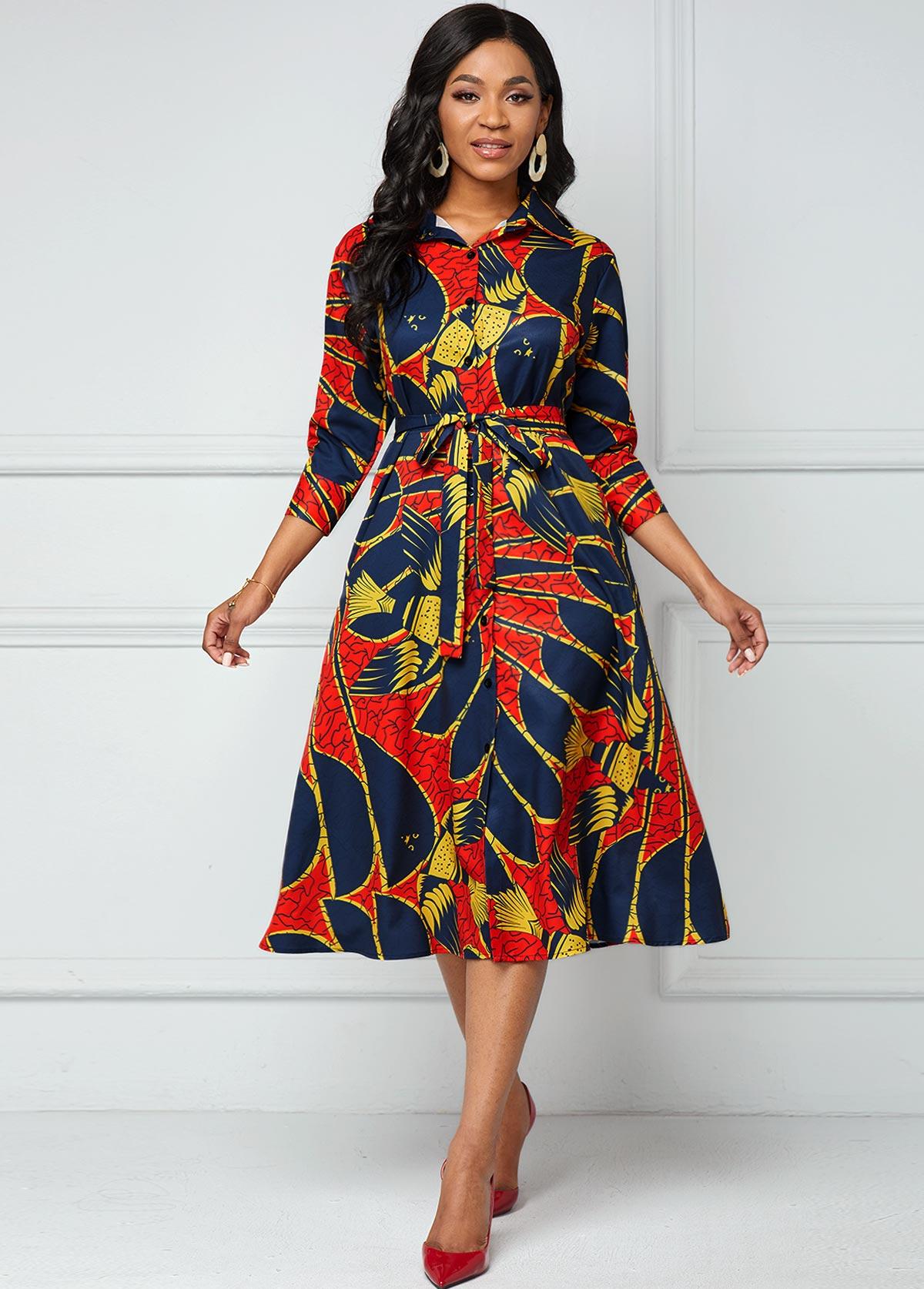 Side Pocket Belted Printed Button Dress