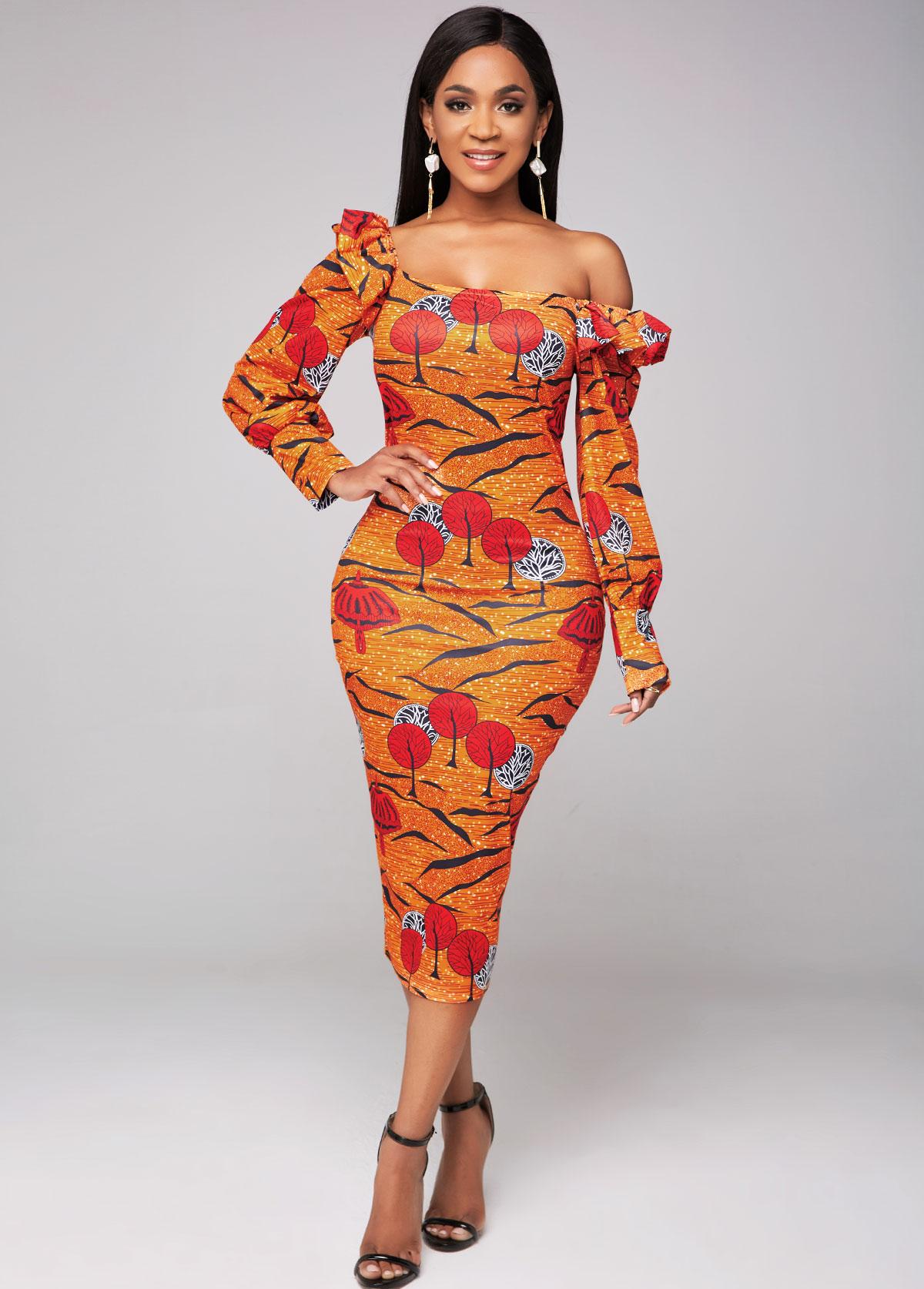 Long Sleeve Flounce Printed Sheath Dress