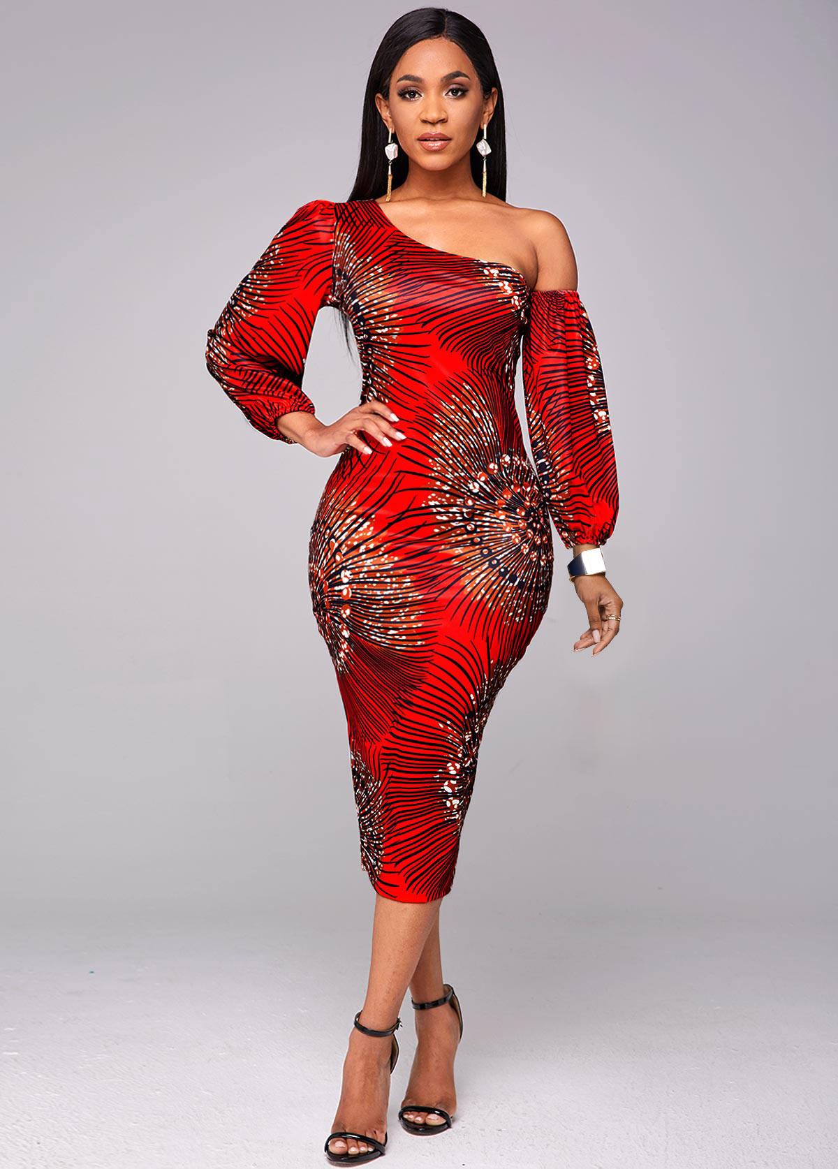 Skew Neck Lantern Sleeve Printed Bodycon Dress