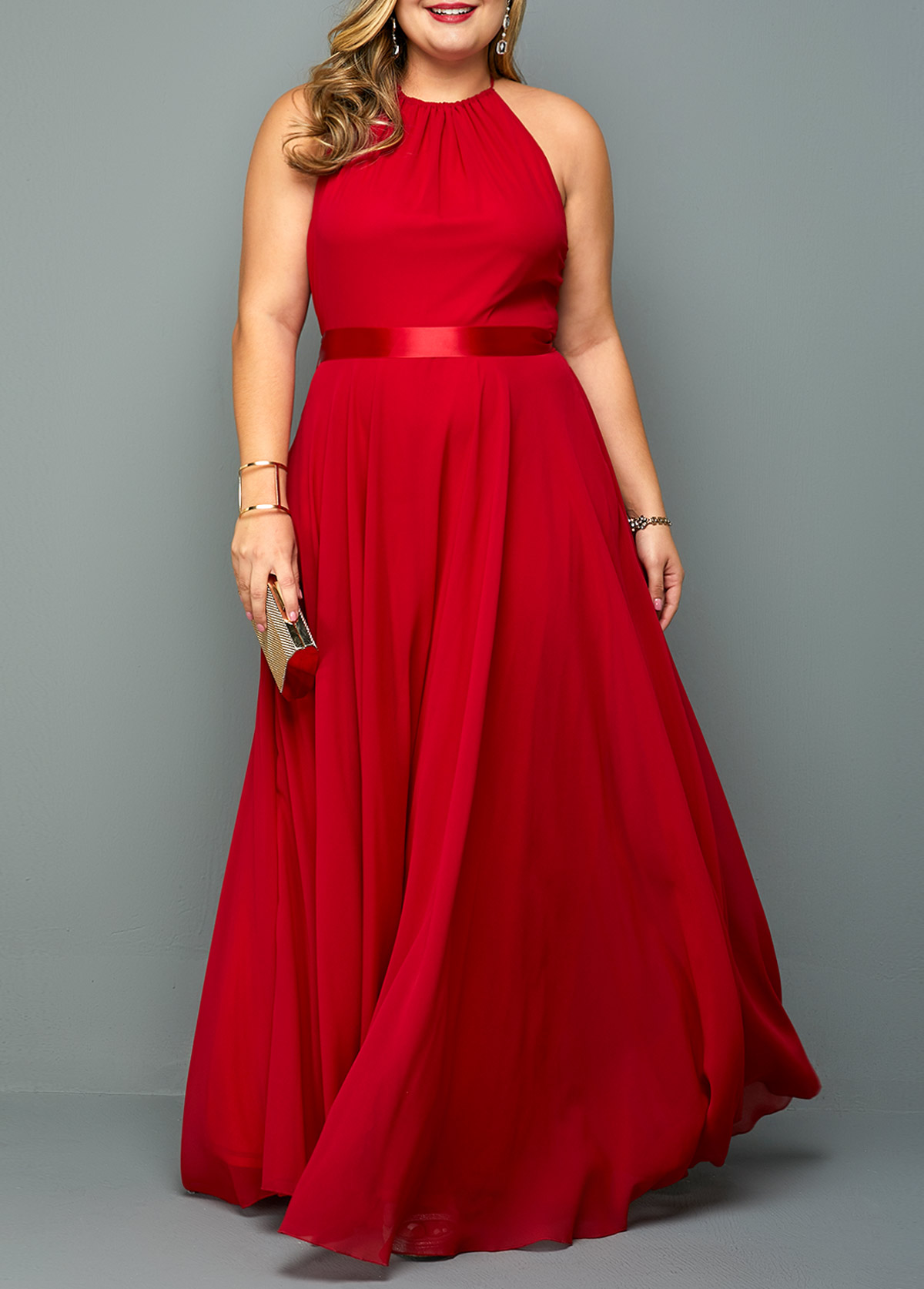 ROTITA Sleeveless Plus Size Red Maxi Dress