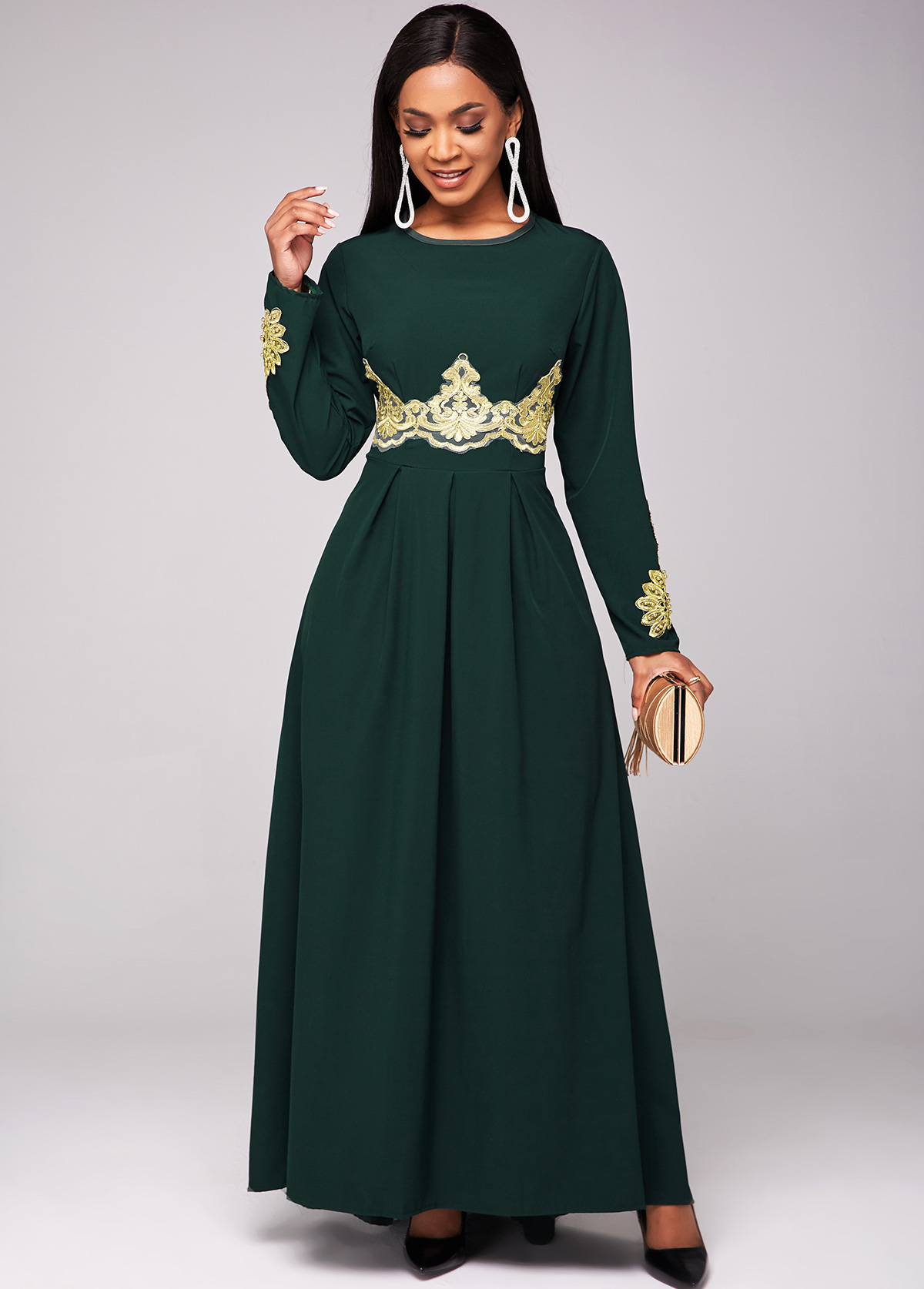 Long Sleeve Lace Stitching Round Neck Dress