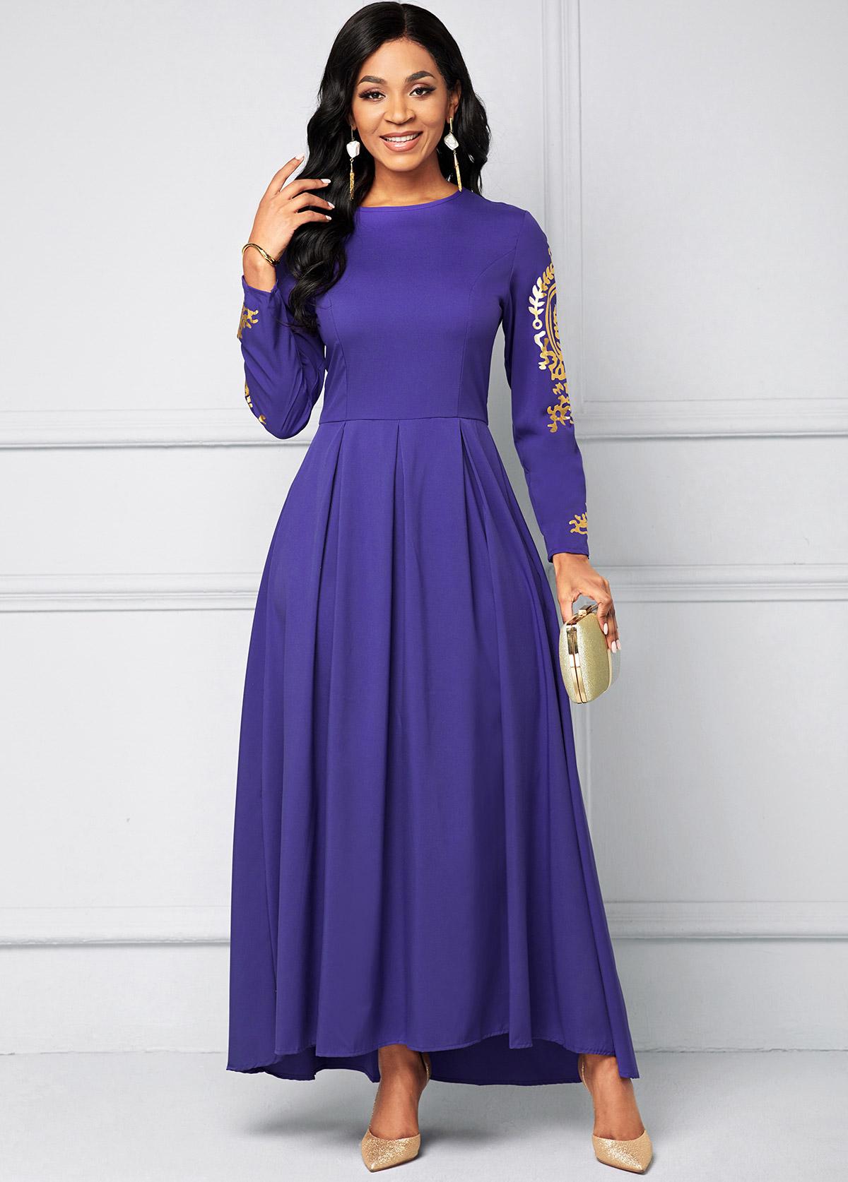Lace Stitching Long Sleeve Maxi Dress