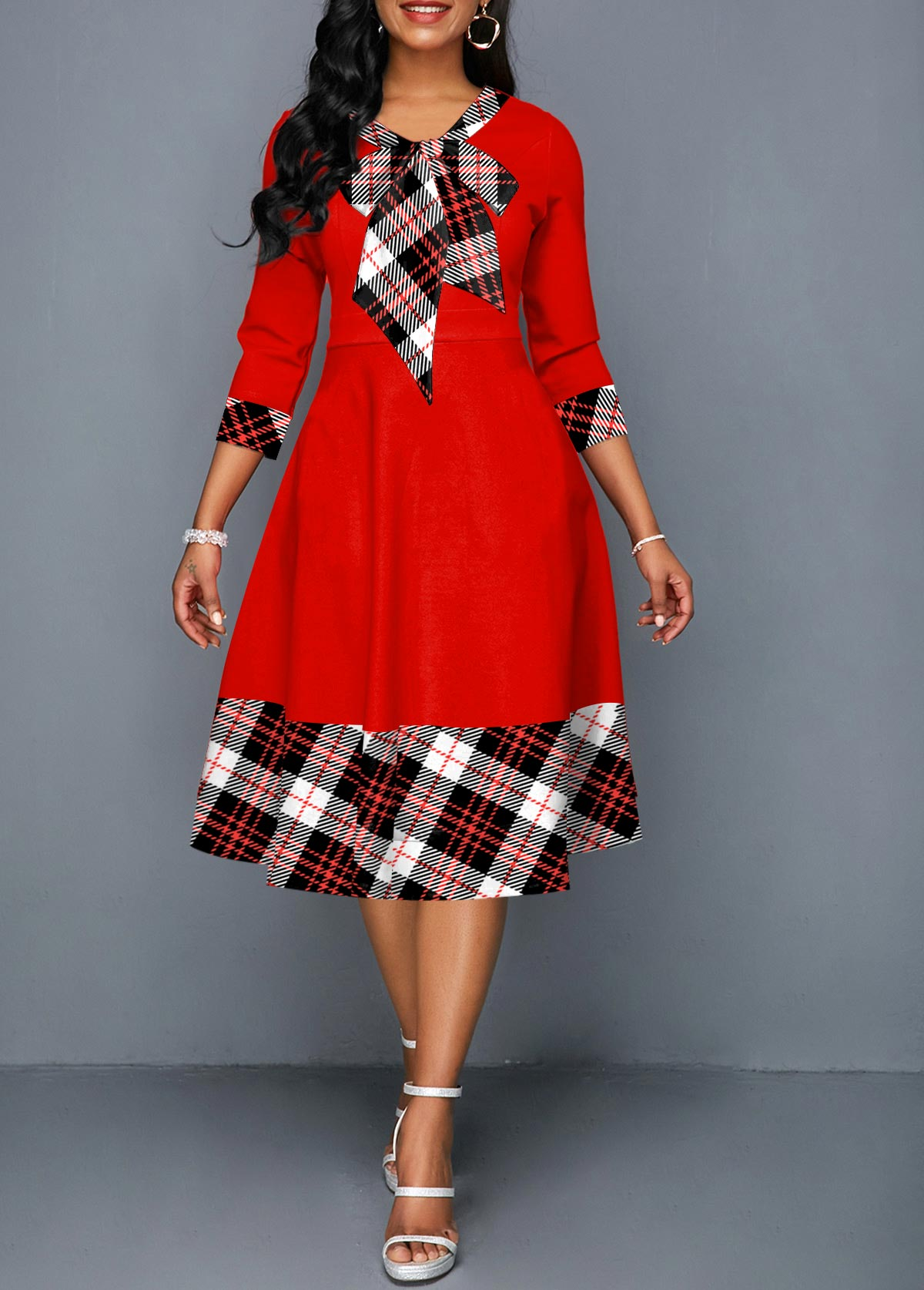 ROTITA Bowknot Side Pocket 3/4 Sleeve Plaid Dress