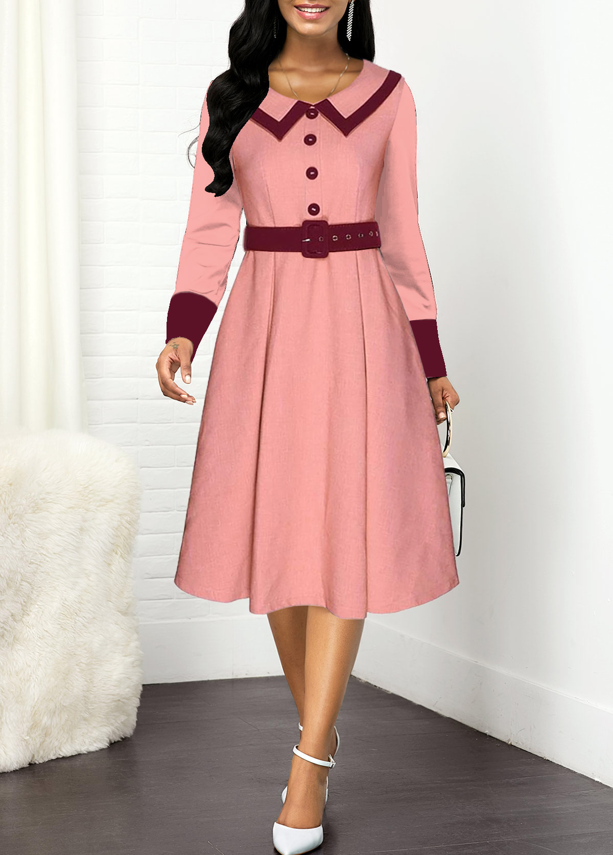 ROTITA Buckle Belted Button Front Contrast Dress