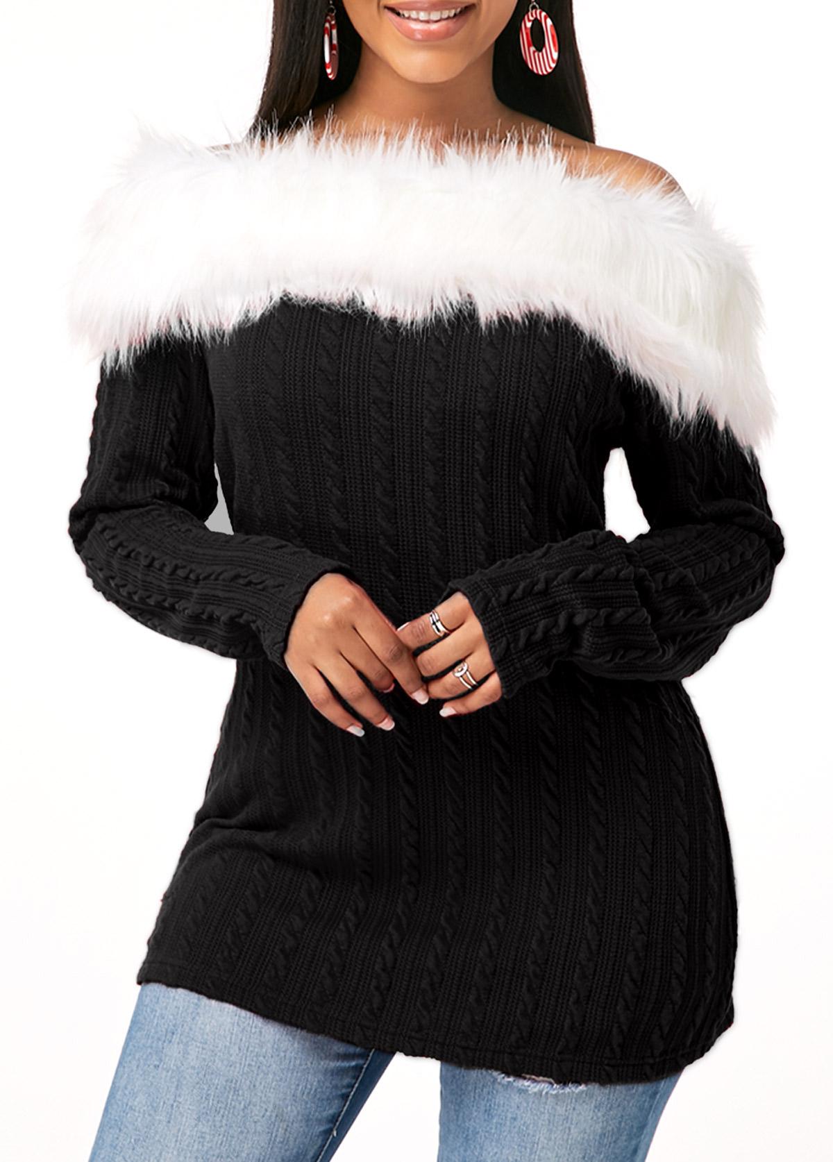 ROTITA Fur Collar Twist Detail Long Sleeve T Shirt