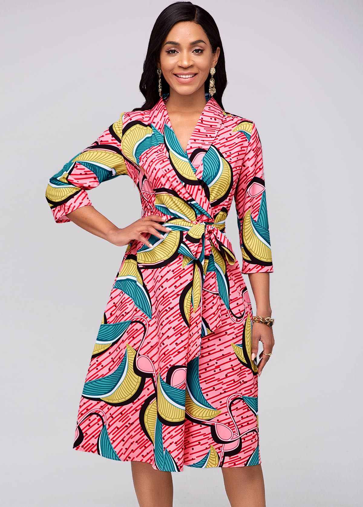 ROTITA Printed 3/4 Sleeve Belted Red Dress